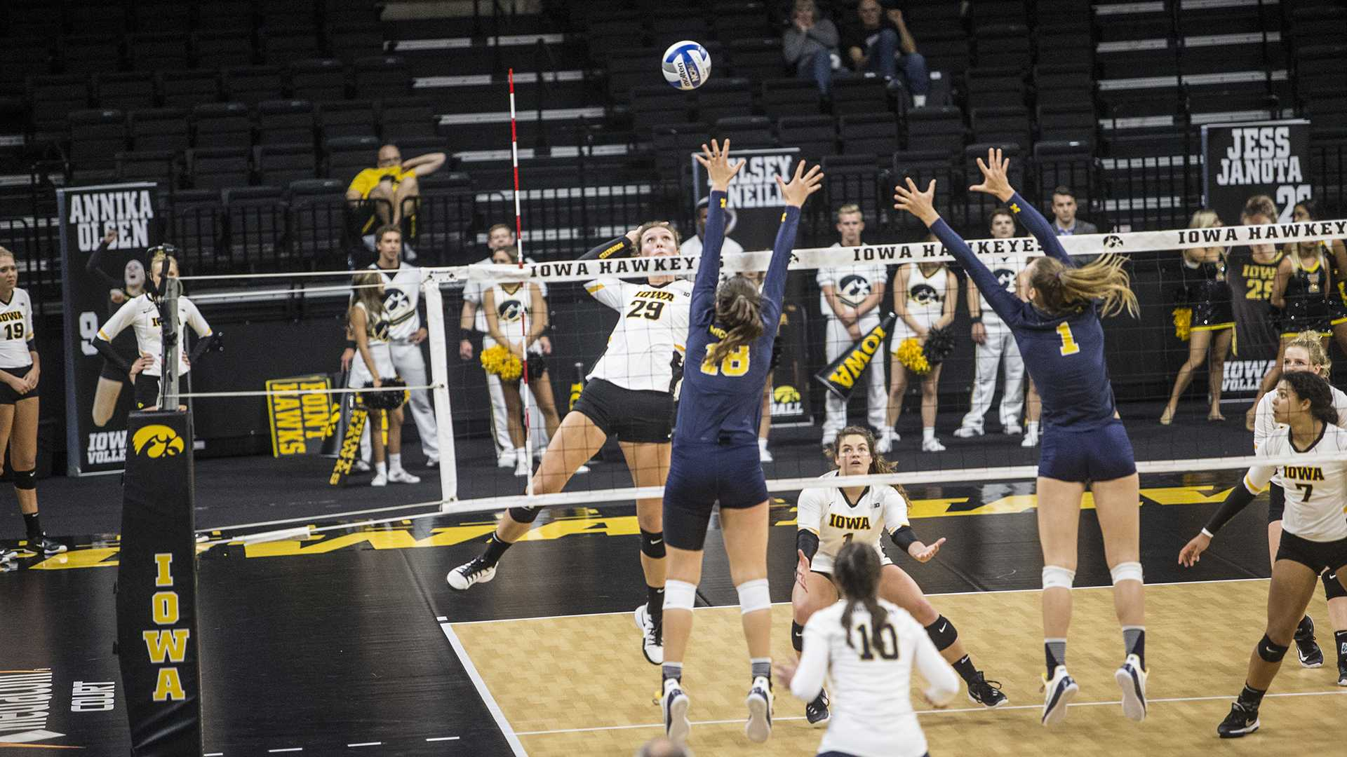 Iowa's Jess Janota spikes the ball during a match at Carver-Hawkeye Arena on Wednesday, Oct. 4, 2017. Iowa defeated Michigan 3 sets to 1. (Nick Rohlman/The Daily Iowan)
