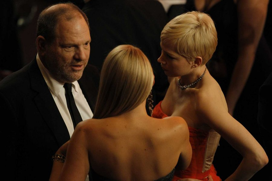 Harvey Weinstein, left, and Michelle Williams, right, at the 84th Annual Academy Awards show at the Hollywood and Highland Center in Los Angeles, California, on Sunday, February 26, 2012. (Robert Gauthier/Los Angeles Times/MCT)