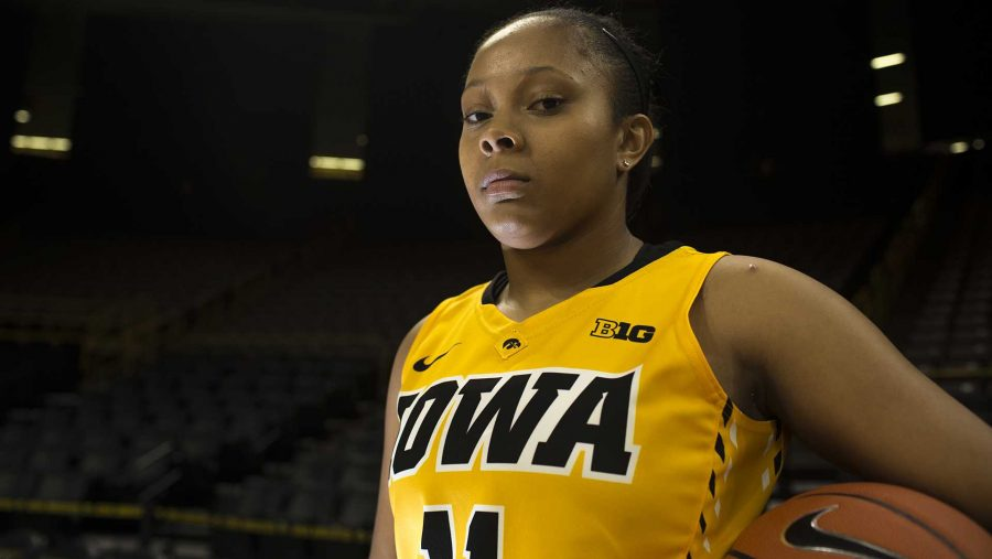 FILE+-+Iowa+guard+Tania+Davis+is+seen+during+women%27s+basketball+media+day+in+Carver-Hawkeye+Arena+on+Wednesday%2C+October+26%2C+2016.+The+Hawkeyes+will+play+Oral+Roberts+on+Nov.+11+at+6+p.m.+at+Carver-Hawkeye.+%28The+Daily+Iowan%2FJoseph+Cress%29
