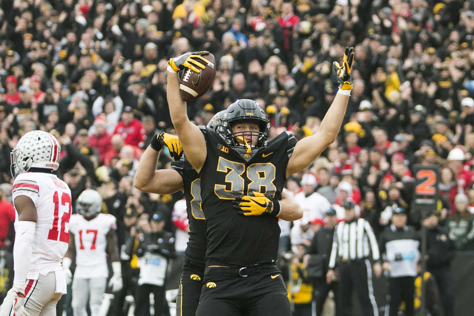Iowa tight end T.J. Hockenson celebrates after catching a touchdown pass during the Iowa/Ohio State football game in Kinnick Stadium on Saturday, Nov. 4, 2017. The Hawkeyes defeated the Buckeyes in a storming fashion, 55-24. (Joseph Cress/The Daily Iowan)