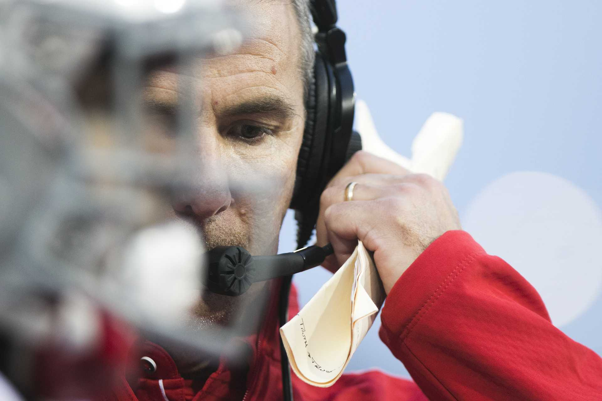 Ohio State head coach Urban Meyer talks on the sideline during the Iowa/Ohio State football game in Kinnick Stadium on Saturday, Nov. 4, 2017. The Hawkeyes defeated the Buckeyes in a storming fashion, 55-24. (Joseph Cress/The Daily Iowan)