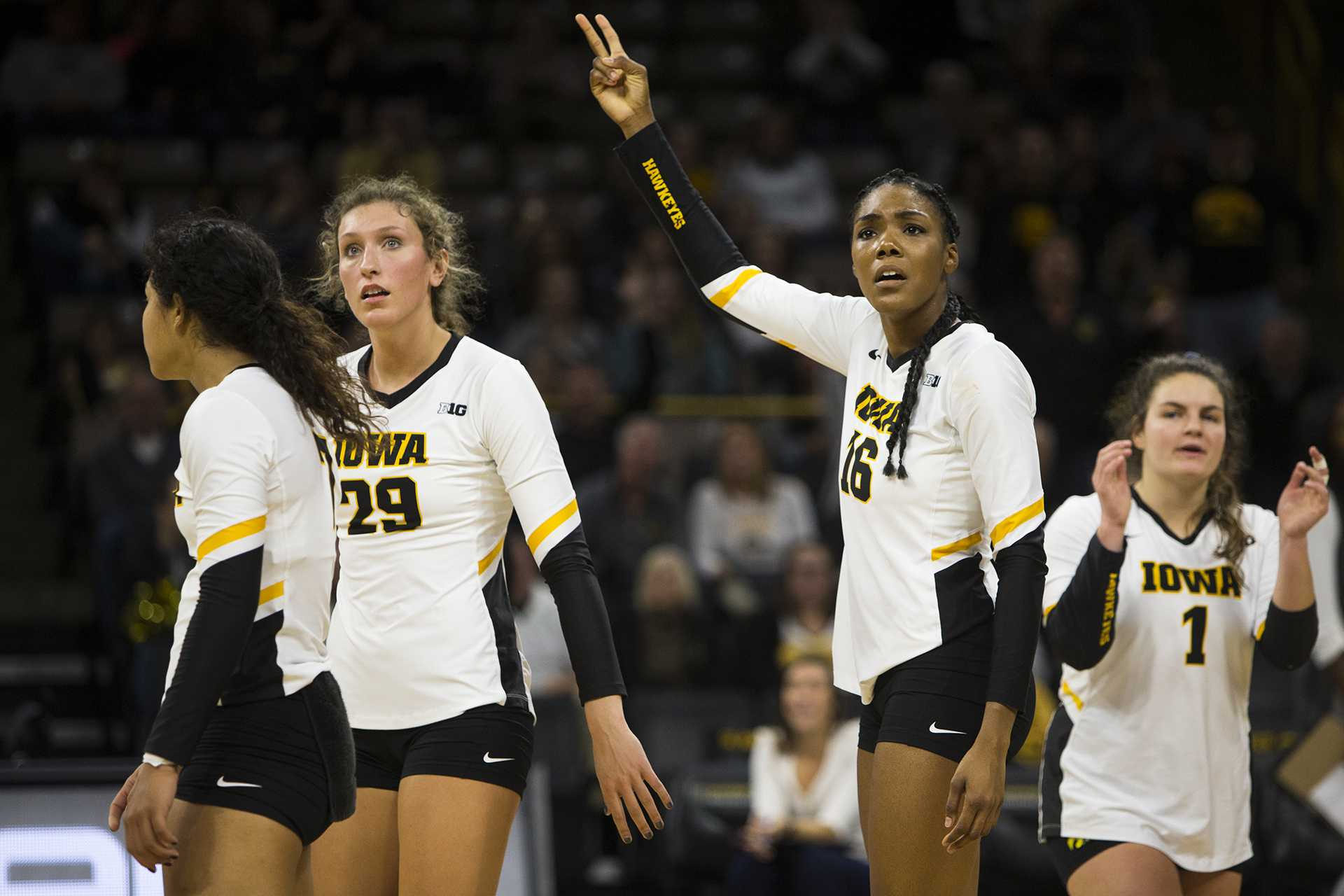 Iowa outside hitter Taylor Louis reacts to a call during an Iowa/Purdue volleyball game in Carver-Hawkeye Arena on Sunday, Nov. 5, 2017. (Joseph Cress/The Daily Iowan)