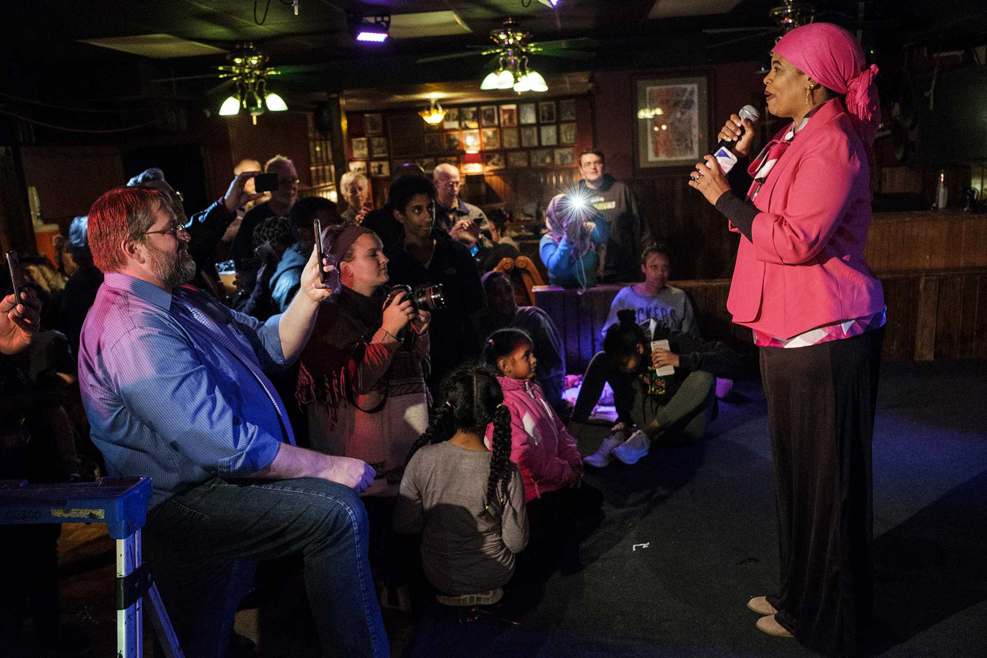 Mazahir Salih addresses suporters after election results were announced at the Mill in Iowa City on Tuesday, Nov. 7, 2017. Salih won an at large seat on the Iowa City city council along with incumbent Kingsley Botchway. (Nick Rohlman/The Daily Iowan)
