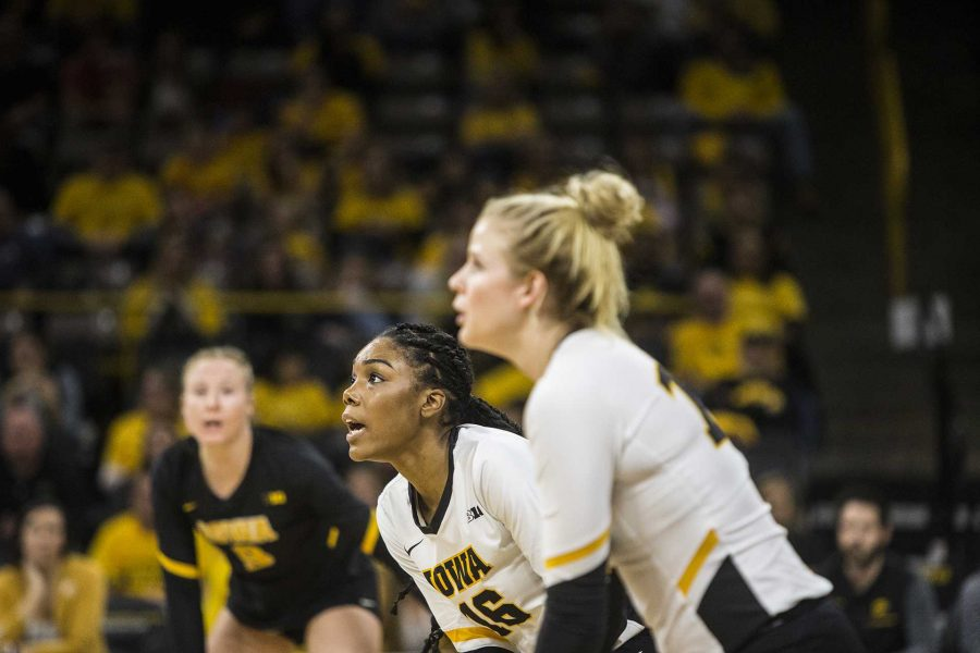 Iowas Taylor Louis (16) waits for the serve during the match between Iowa and Penn State at Carver-Hawkeye Arena on Wednesday, Nov. 8, 2017. The Hawkeyes lost to the Nittany Lions 3-0.