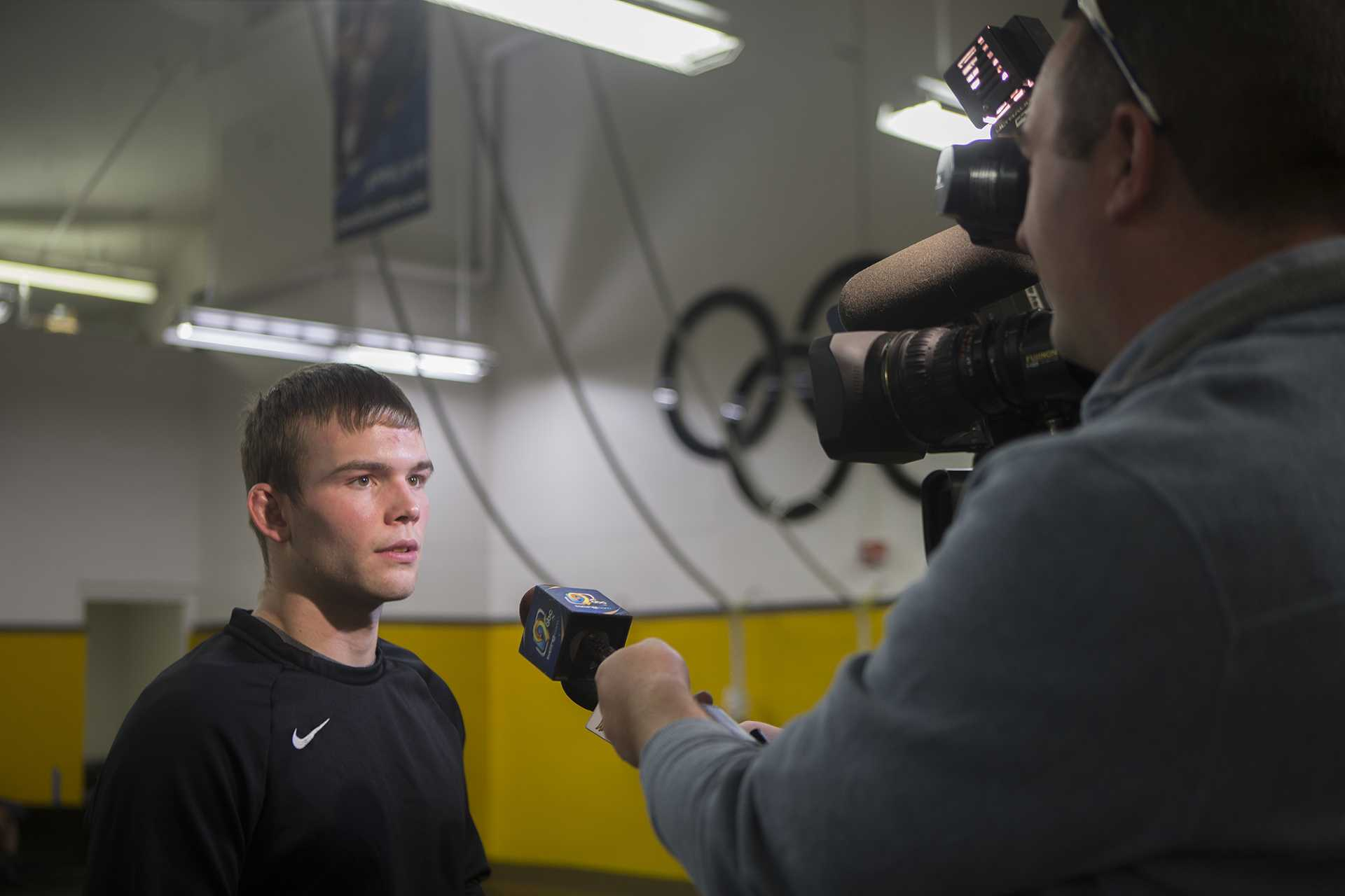 Iowa's Brandon Sorensen speaks to reporters during Wrestling Media Day at Carver-Hawkeye Arena on Wednesday, Nov. 8, 2017.   Hawkeye Wresling begins Iowa City duels on Friday, Nov. 17 against Iowa Central Community College. (Lily Smith/The Daily Iowan)