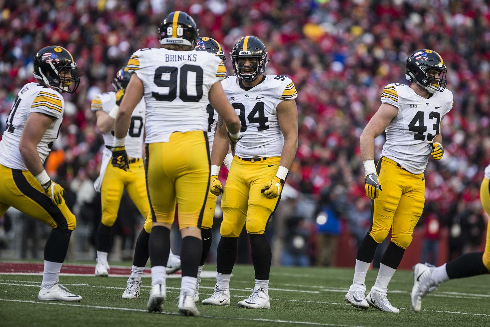 Iowa defensive end A.J. Epenesa (94) celebrates a sack during the game between Iowa and Wisconsin at Camp Randall Stadium on Saturday, Nov. 11, 2017. The Hawkeyes fell to the Badgers 38-14. (Ben Smith/The Daily Iowan)