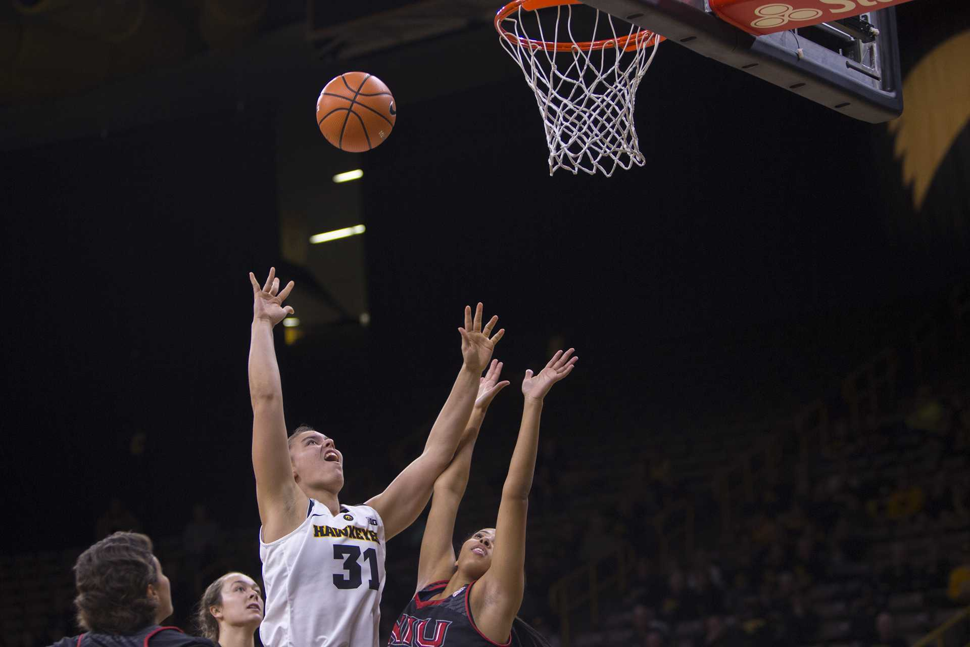 Iowa's Paula Valiño Ramos attempts a shot during the Iowa/Northern Illinois basketball game at Carver-Hawkeye Arena on Wednesday, Nov. 15, 2017. The Hawkeyes defeated the Huskies, 105-80. (Lily Smith/The Daily Iowan)