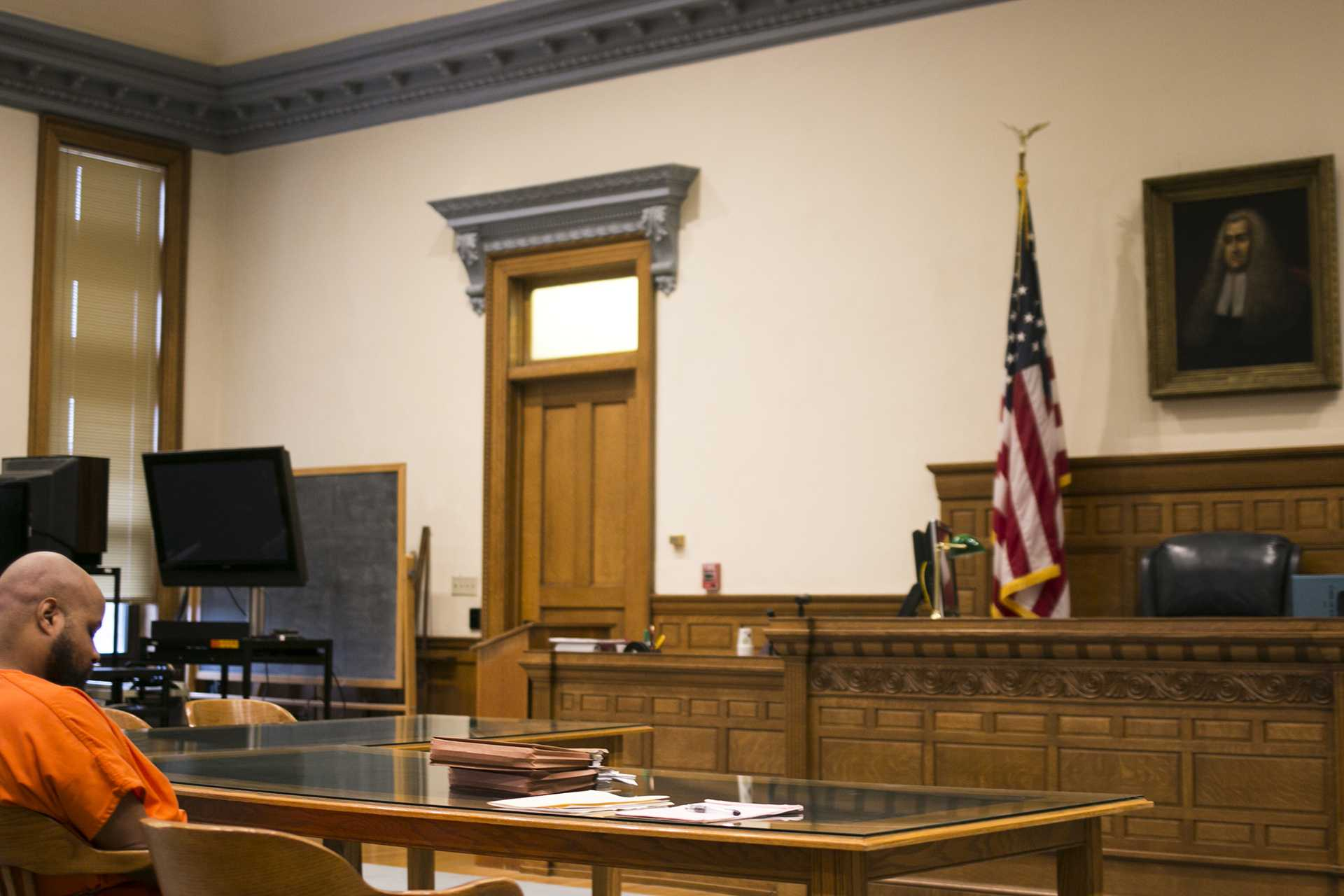 Curtis Jones sits before a case-management conference for Curtis Jones in the Johnson County courthouse on Friday, Nov. 17, 2017. Jones is being charged with first-degree murder in connection with the slaying of cab driver Ricky Lillie and first-degree robbery. (Joseph Cress/The Daily Iowan)