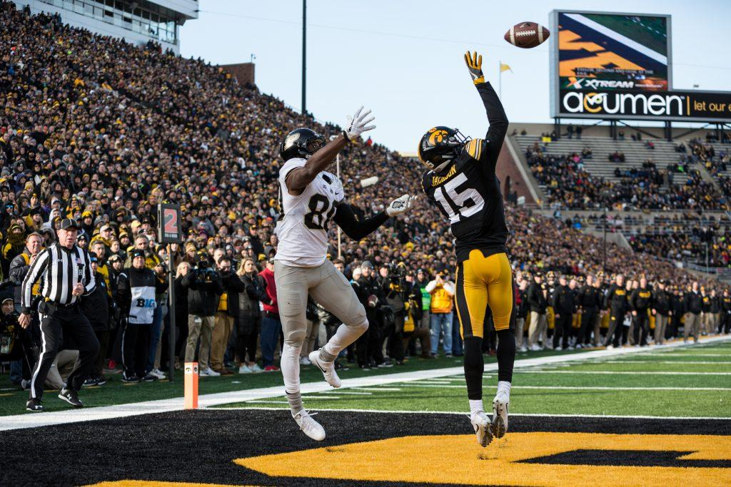 Iowa+Defensive+Back+Josh+Jackson+breaks+up+a+pass+during+a+game+against+Purdue+University+on+Saturday%2C+Nov.+18%2C+2017.+%28David+Harmantas%2FThe+Daily+Iowan%29