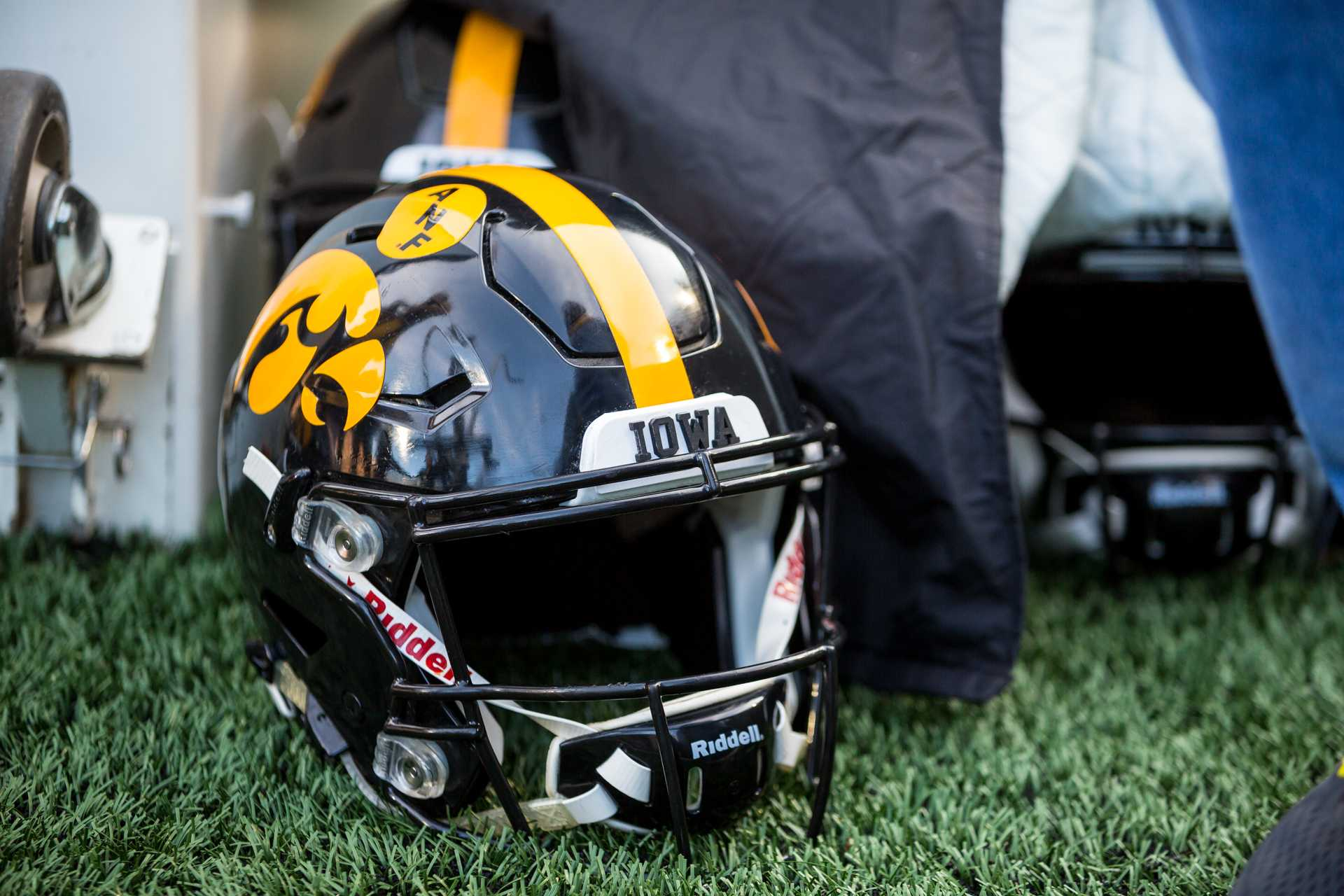 An Iowa football helmet on the sideline during a game against Purdue University on Saturday, Nov. 18, 2017. The Boilermakers defeated the Hawkeyes 24 to 15. (David Harmantas/The Daily Iowan)