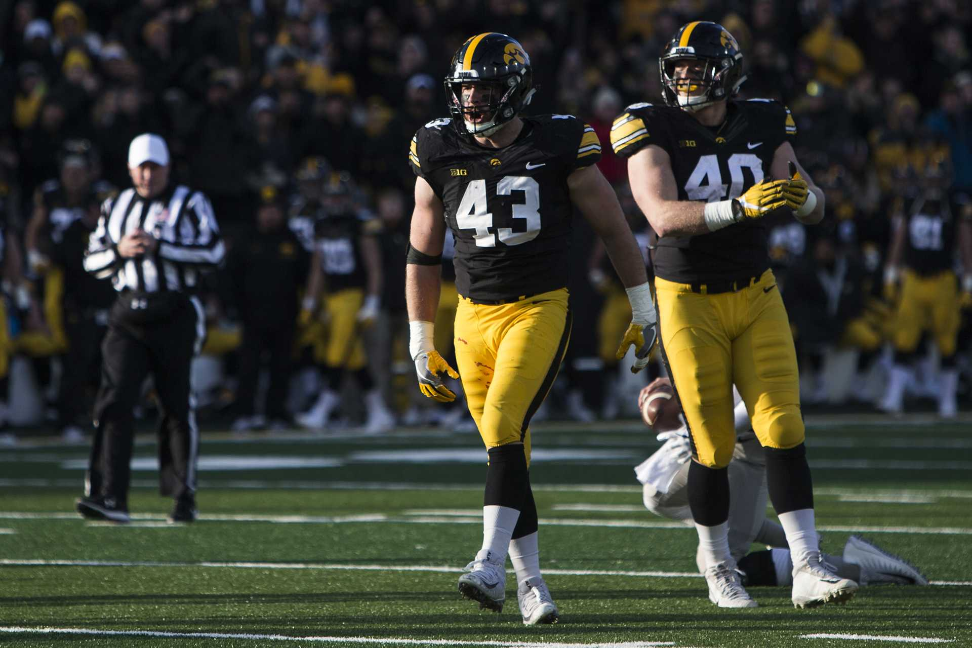 Iowa linebacker Josey Jewell celebrates after getting a sack with teammate Parker Hesse during the Iowa/Purdue football game in Kinnick Stadium on Saturday, Nov. 18, 2017. The Boilermakers defeated the Hawkeyes, 24-15. (Joseph Cress/The Daily Iowan)