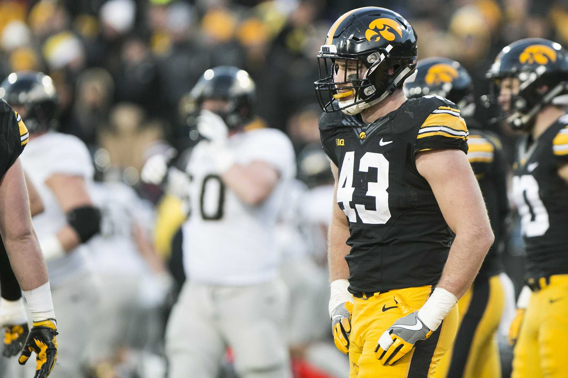 Iowa linebacker Josey Jewell reacts during the Iowa/Purdue football game in Kinnick Stadium on Saturday, Nov. 18, 2017. The Boilermakers defeated the Hawkeyes, 24-15. (Joseph Cress/The Daily Iowan)