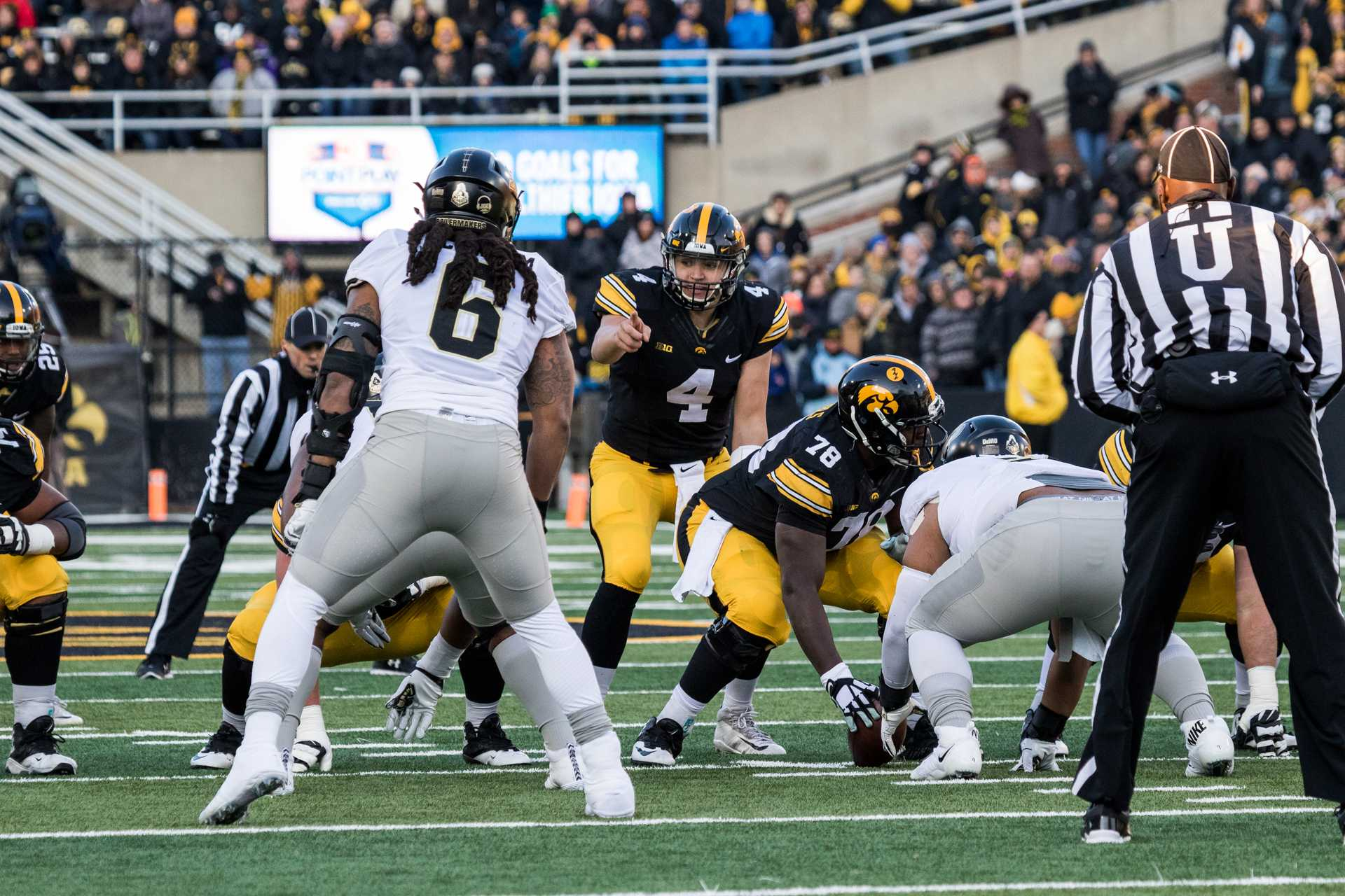 Iowa Quarterback Nate Stanley calls out the defense during a game against Purdue University on Saturday, Nov. 18, 2017. At halftime, the Hawkeyes lead the Boilermakers 9 to 7. (David Harmantas/The Daily Iowan)