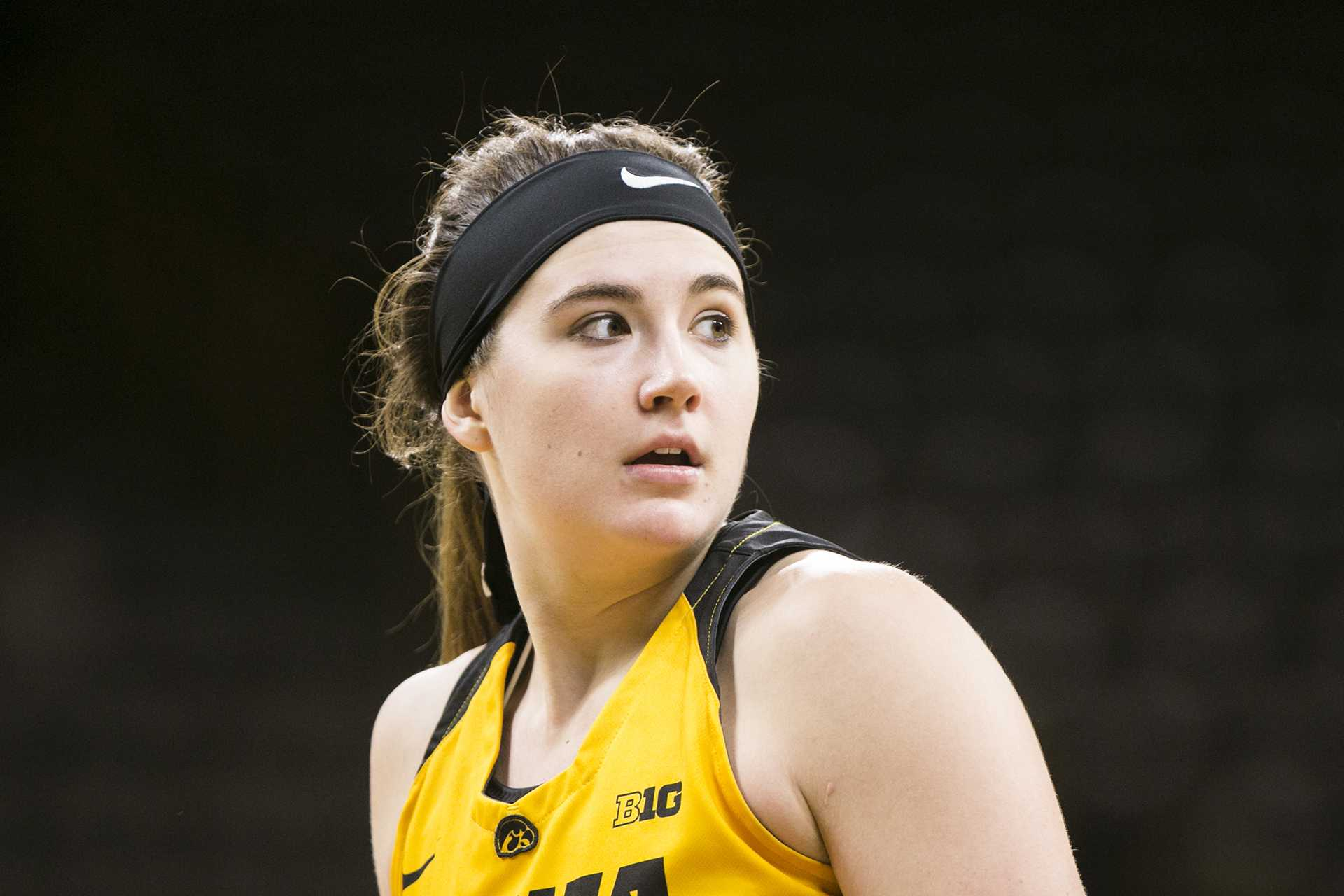 Iowa center Megan Gustafson looks to the bench during the Iowa/Western Michigan women's basketball game in Carver-Hawkeye Arena on Sunday, Nov. 19, 2017. The Hawkeyes defeated the Broncos, 79-56. (Joseph Cress/The Daily Iowan)
