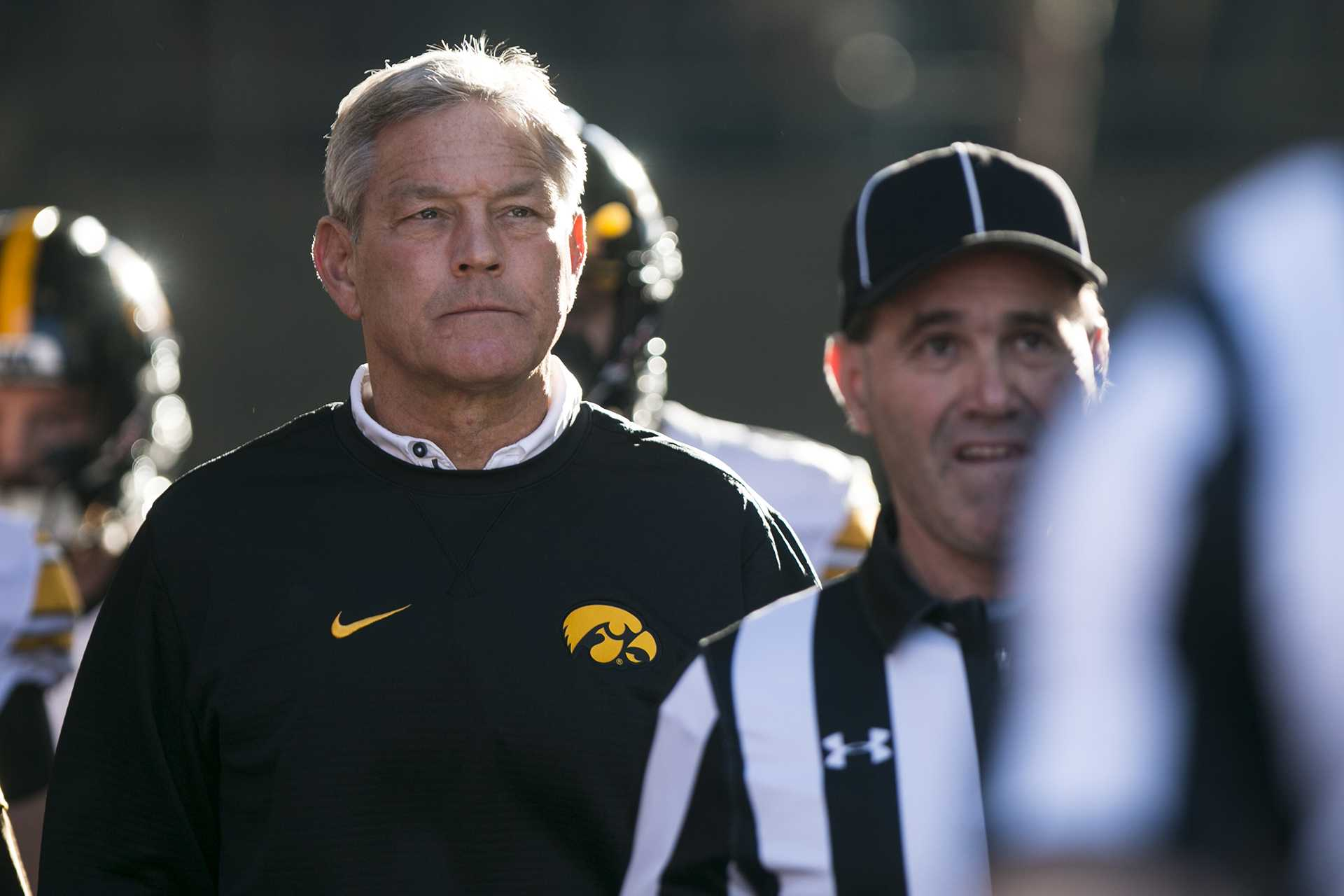 Iowa head coach Kirk Ferentz walks out of the tunnel before the Iowa/Nebraska football game in Memorial Stadium on Friday, Nov. 24, 2017. The Hawkeyes defeated the Cornhuskers, 56-14. (Joseph Cress/The Daily Iowan)