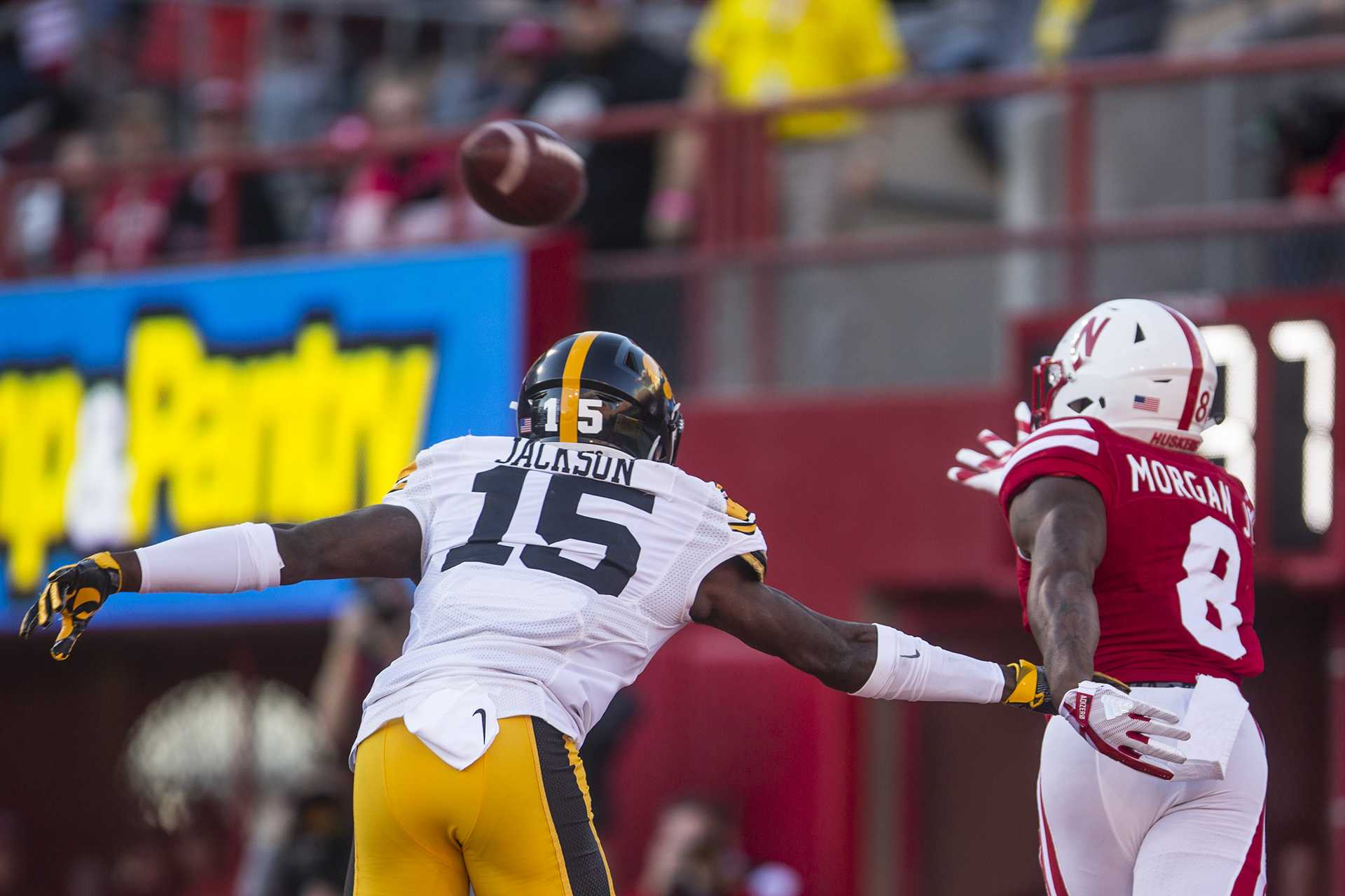 Nebraska wide receiver Stanley Morgan Jr. makes a one handed catch for a touchdown during Iowa's game against Nebraska at Memorial Stadium on Friday, Nov. 24th, 2017. The Hawkeyes defeated the Cornhuskers 56-14. (Nick Rohlman/The Daily Iowan)