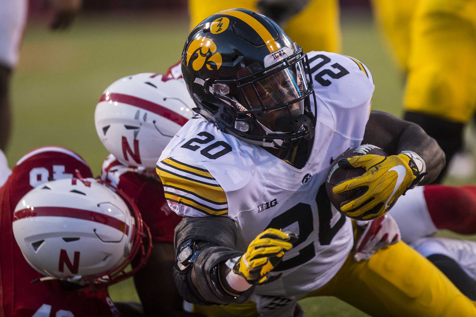 Iowa running back James Butler dives for a touchdown during Iowa's game against Nebraska at Memorial Stadium on Friday, Nov. 24th, 2017. The Hawkeyes defeated the Cornhuskers 56-14. (Nick Rohlman/The Daily Iowan)