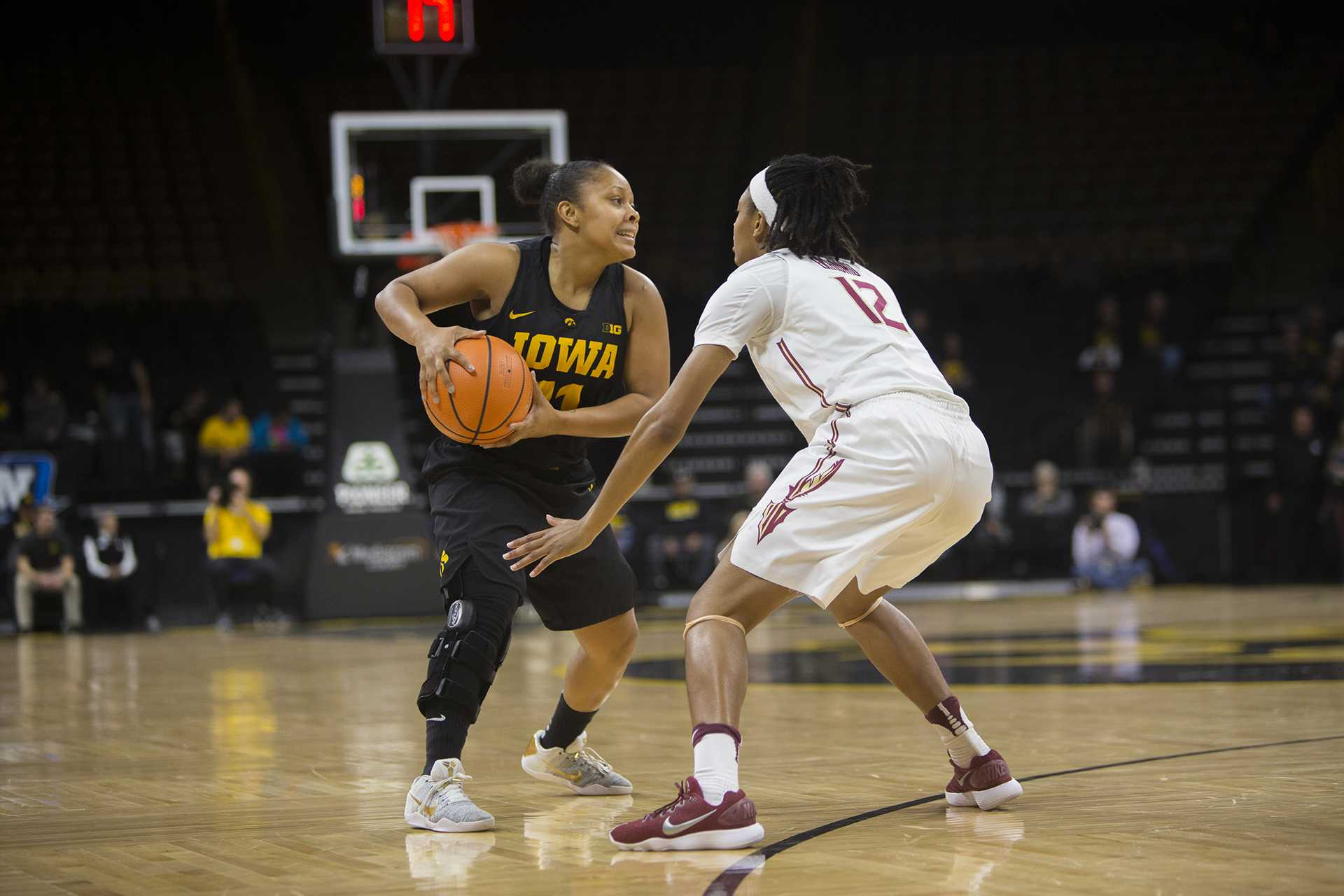 Iowa's Tania Davis guards the ball during the Iowa/Florida State Big Ten/ACC Challenge basketball game at Carver-Hawkeye Arena on Wednesday, Nov. 29, 2017.