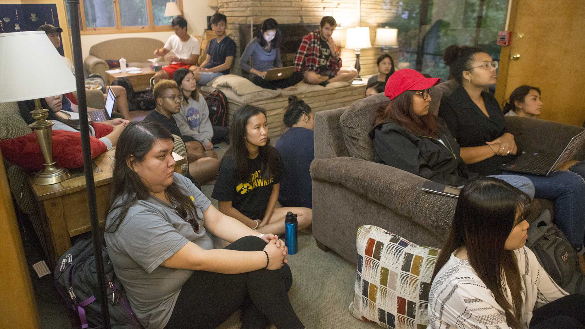 FILE - Students converse during the UISG Asian American Discussion Circle at the Asian Pacific American Cultural Center on Monday, Sept. 18, 2017. The event served as an outlet for Asian UI students to explore identity and express issues related to Asian students. (Lily Smith/The Daily Iowan)