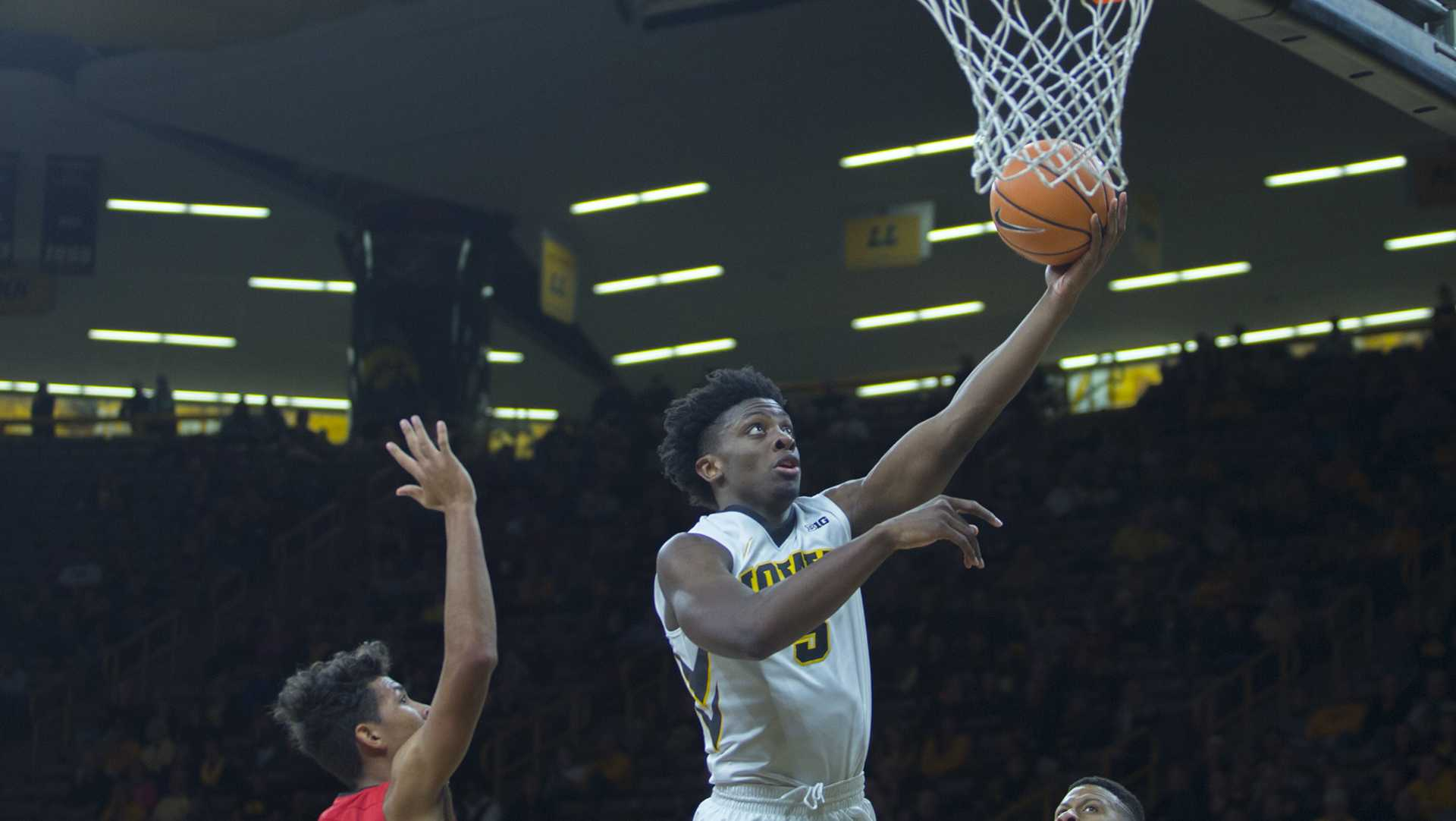 Iowa forward Tyler Cook shoots a lay-up during the Iowa/Belmont Abbey basketball game in Carver-Hawkeye Arena on Thursday, Nov. 2, 2017. The Hawkeyes defeated the Crusaders, 96-64. (Lily Smith/The Daily Iowan)