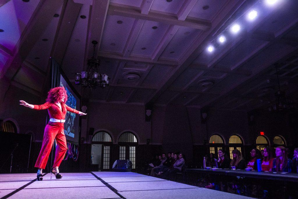 A drag troupe from the Delta Labda Phi fraternity dances at a Cultural Showcase at the IMU on Thursday, Nov. 16, 2017. The event was sponsored by the Campus Activities Board. (James Year/The Daily Iowan)