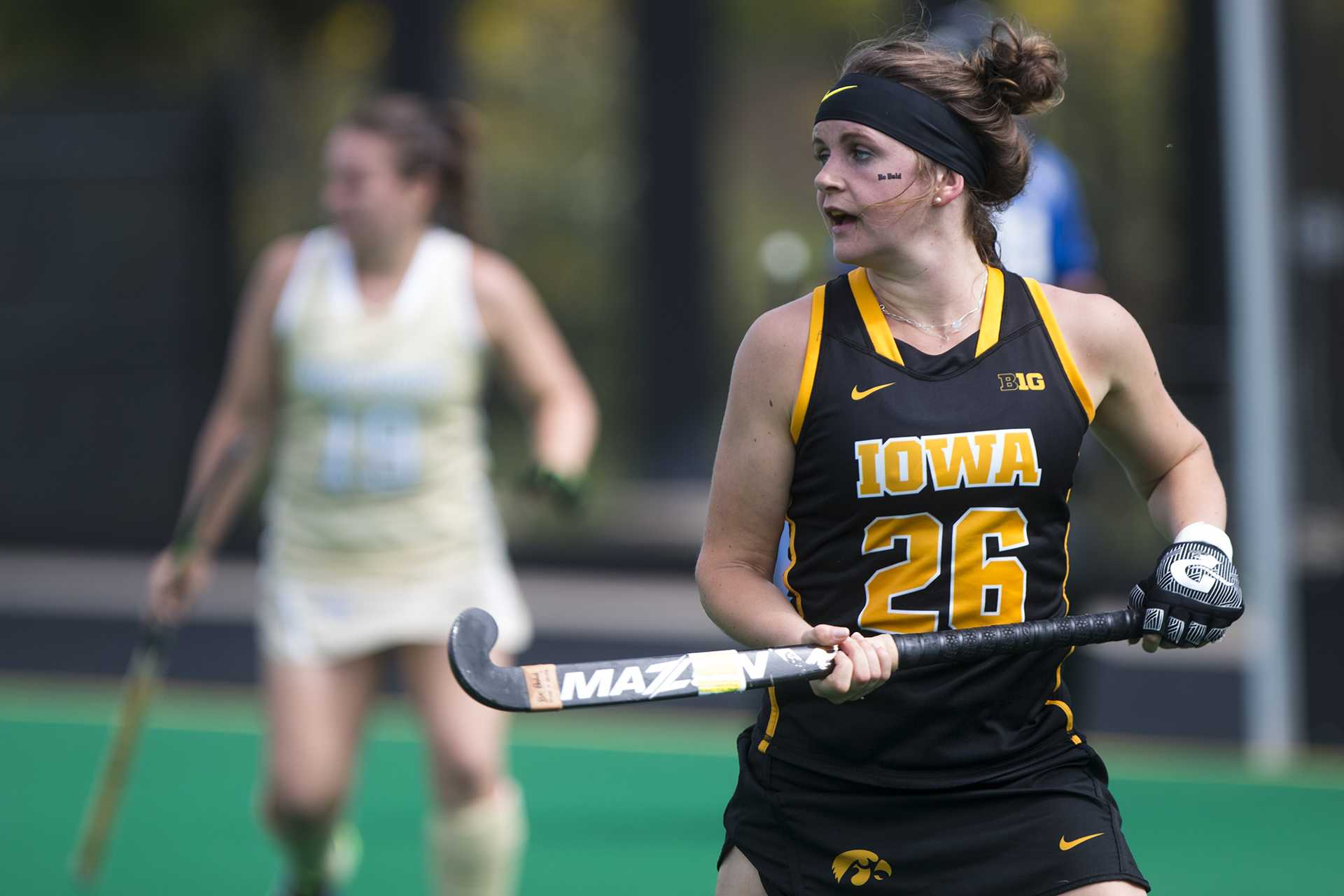 Iowa forward Madeline Murphy looks to a teammate during a field hockey game during the Big Ten/ACC Challenge at Grant Field in Iowa City on Saturday, Aug. 26, 2017. The Hawkeyes fell to Wake Forest, 3-2. (Joseph Cress/The Daily Iowan)