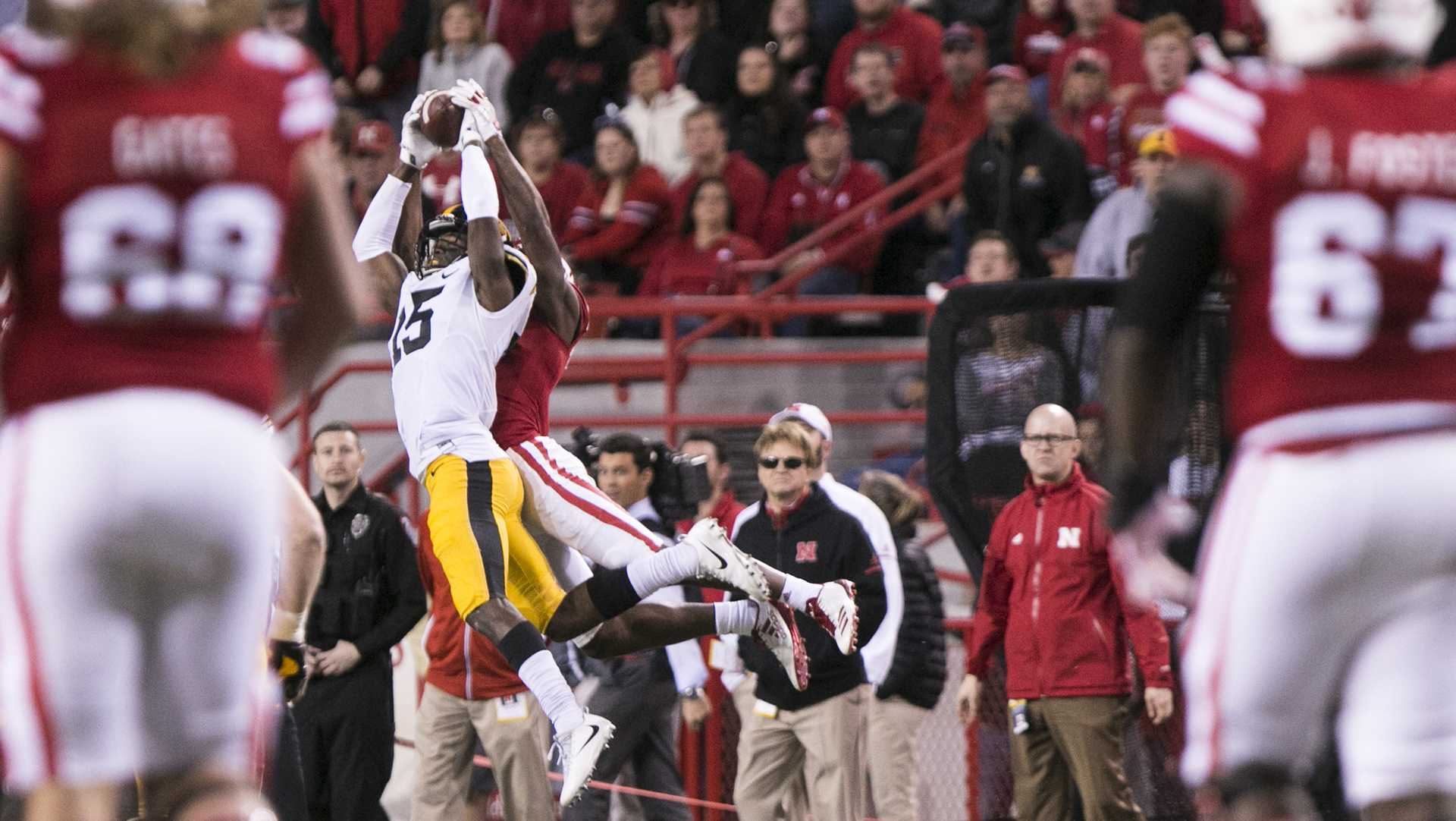 Iowa cornerback Josh Jackson attempts to intercept a pass during the Iowa/Nebraska football game in Memorial Stadium on Friday, Nov. 24, 2017. The Hawkeyes defeated the Cornhuskers, 56-14. (Joseph Cress/The Daily Iowan)