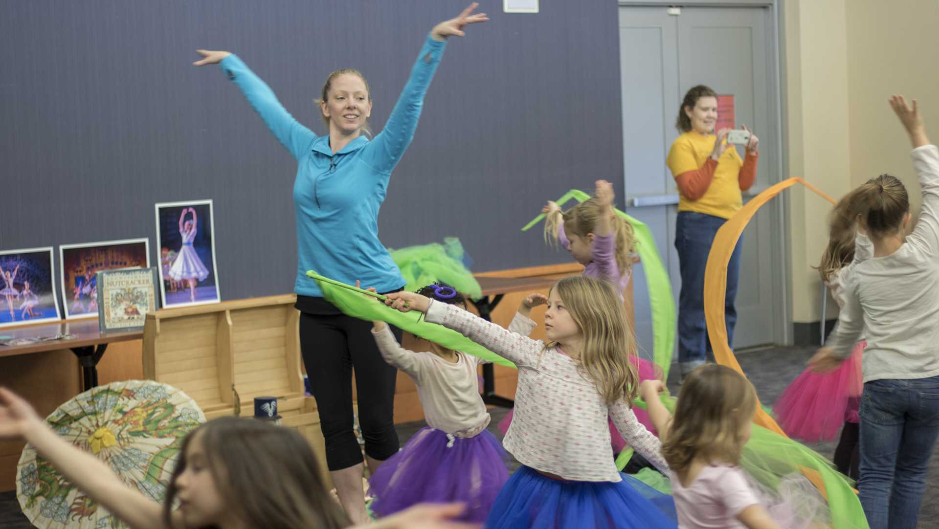 Children are taught ballet at the Iowa City Public Library on Thursday, Nov. 30, 2017. Kids in attendance were read excerpts from