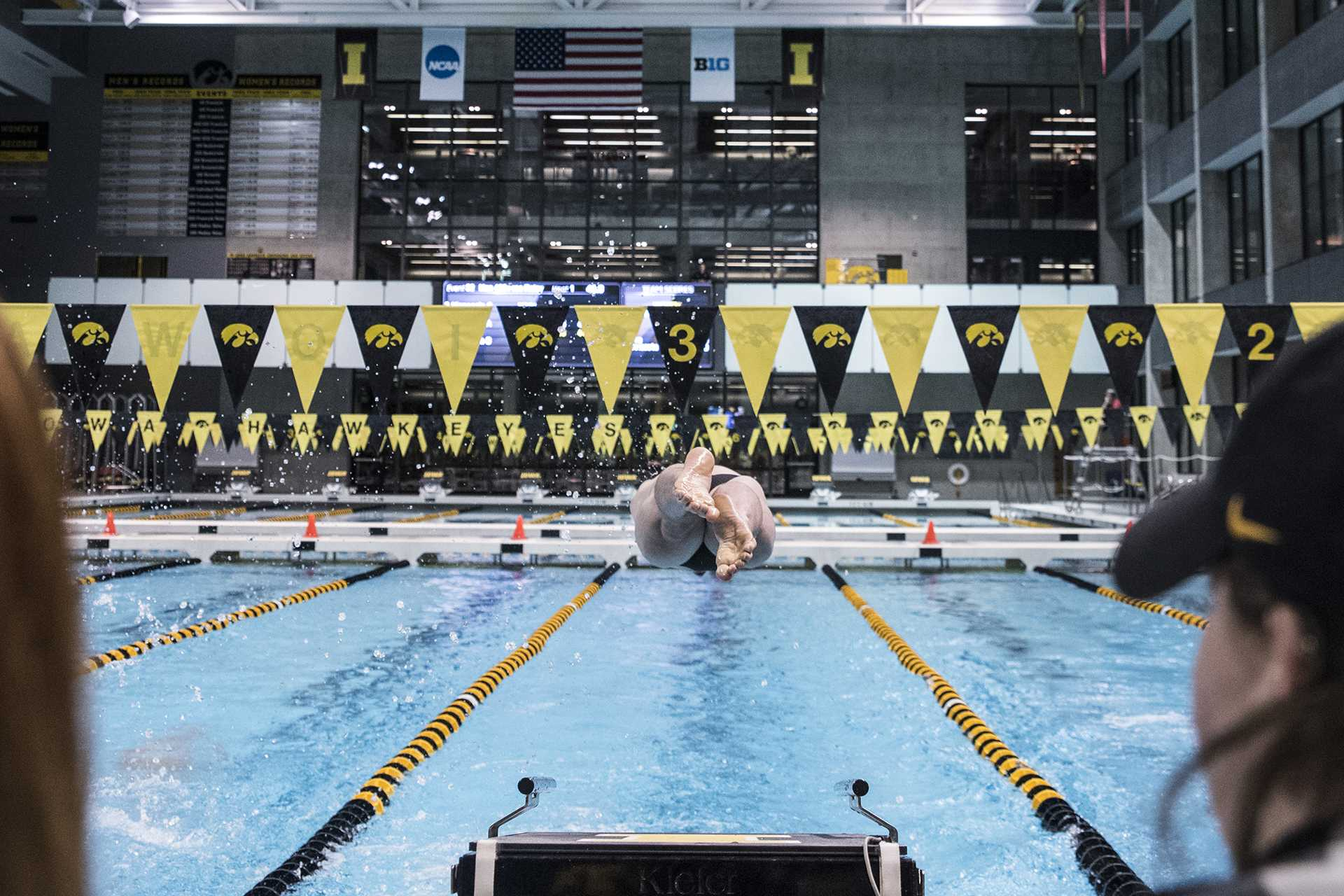 A swimmer dives into the water during the Senior Day meet between Iowa and Minnesota at the Campus Recreation and Wellness Center on Friday, Oct. 27, 2017. The Iowa men's swimming team beat the 21st ranked Minnesota Golden Gophers 168-132. (Ben Smith/The Daily Iowan)