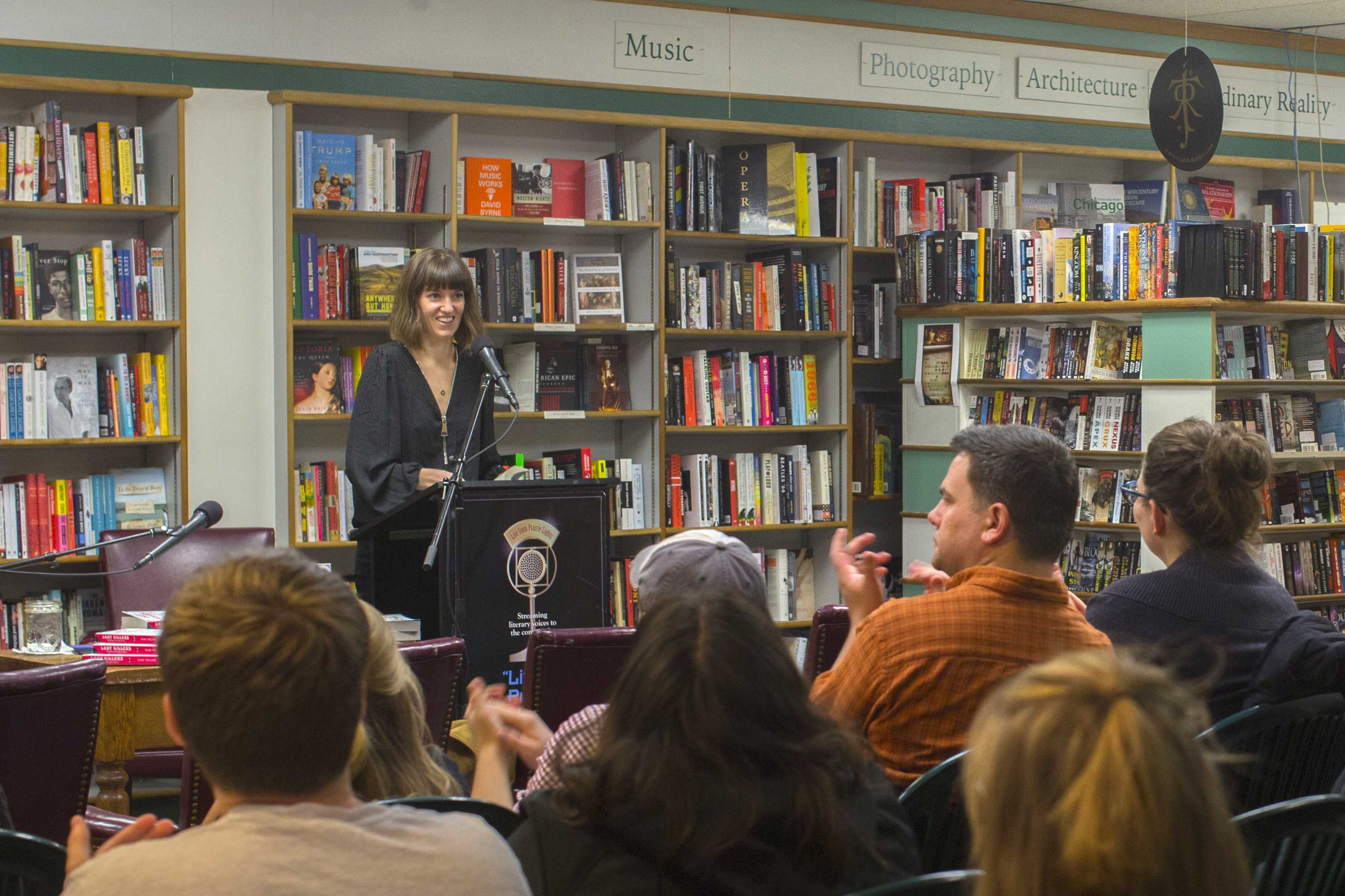 Author Tori Telfer speaks at Prarie Lights Bookstore on Tuesday, Oct. 31, 2017. Telfer is the author of Lady Killers. (Lily Smith/The Daily Iowan)