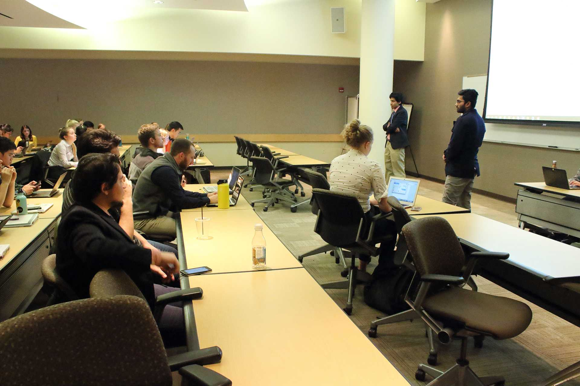 UISG Senators Sanjeev Thangarajah and Akash Bhalerao proposing new legislation at the University Capital Center on Tuesday, Nov. 14, 2017. UISG passed legislation about a new constituency position to increase international inclusion. (Ashley Morris/The Daily Iowan)