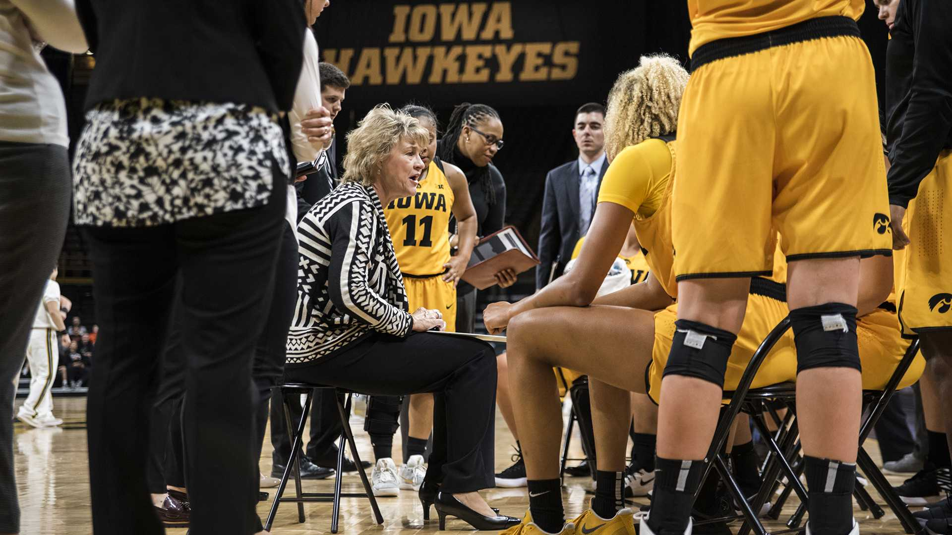 Iowa head coach Lisa Bluder takes a timeout during the women's basketball game between Iowa and Minnesota State at Carver-Hawkeye Arena on Sunday, Nov. 5, 2017. The Hawkeyes beat the Dragons 85-56. (Ben Smith/The Daily Iowan)