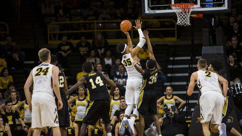 Iowa+forward+Cordell+Pemsl+goes+up+for+a+layup+during+Iowa%E2%80%99s+game+against+Alabama+State+at+Carver-Hawkeye+Arena+on+Sunday%2C+Nov.+12%2C+2017.+The+Hawkeyes+defeated+the+Hornetts+92-58.+%28Nick+Rohlman%2FThe+Daily+Iowan%29