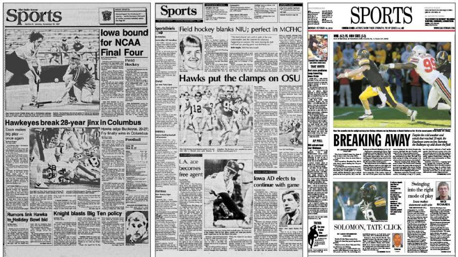 The+Daily+Iowan+Sports+front+pages+from+1987%2C+1991%2C+and+2004.+%28Daily+Iowan+archives%29