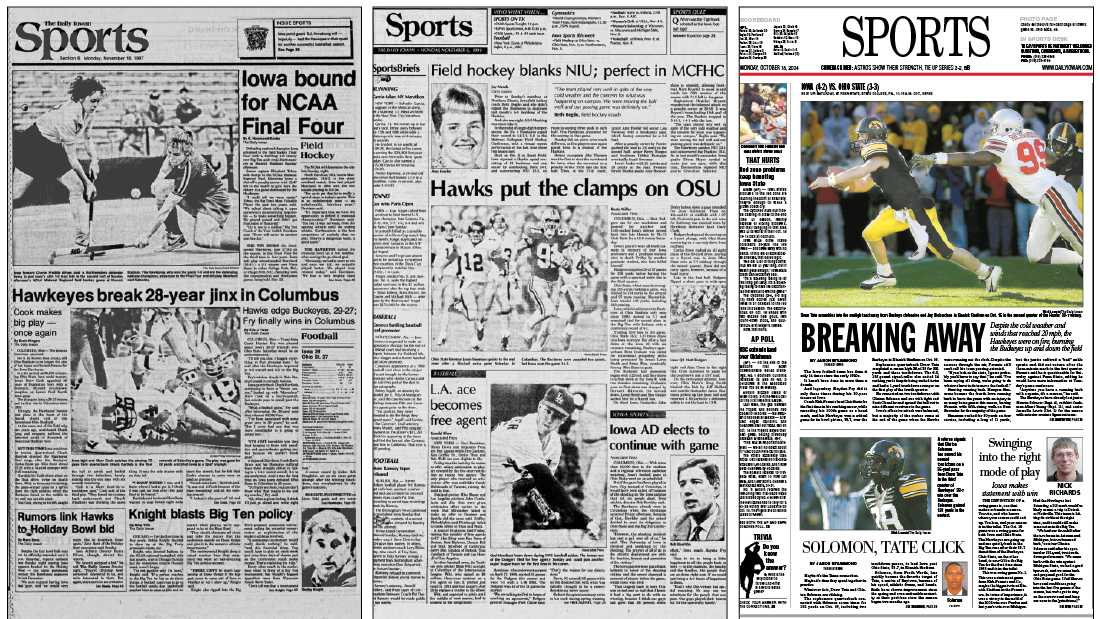 The Daily Iowan Sports front pages from 1987, 1991, and 2004. (Daily Iowan archives)