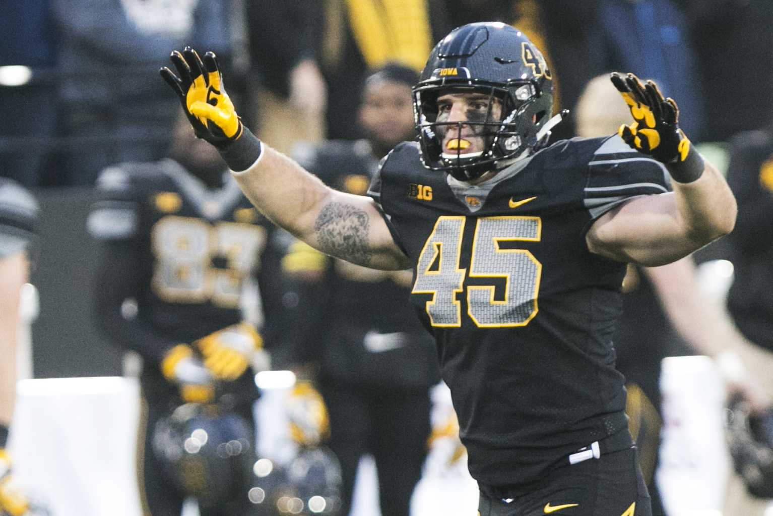 Iowa fullback Drake Kulick gestures during the Iowa/Ohio State football game in Kinnick Stadium on Saturday, Nov. 4, 2017. The Hawkeyes defeated the Buckeyes in a storming fashion, 55-24. (Joseph Cress/The Daily Iowan)