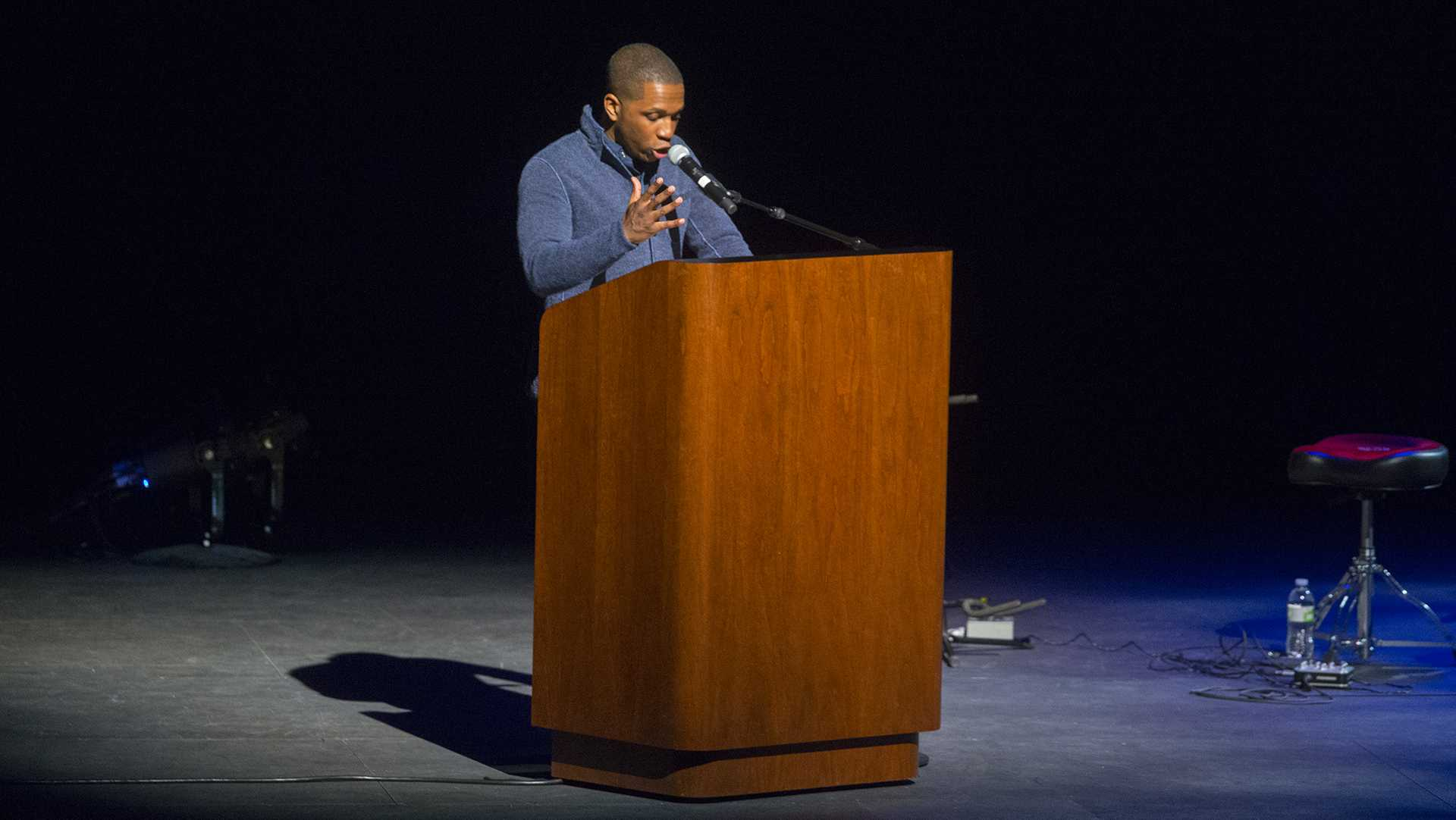 FILE - Leslie Odom Jr. speaks in collaboration with the UI Lecture Committee at Hancher Auditorium on Monday, Mar 27, 2017. Odom Jr. gained recognition and a 2015 Grammy Award and Tony Award for Best Actor for his work in the musical Hamilton. (The Daily Iowan/Lily Smith)