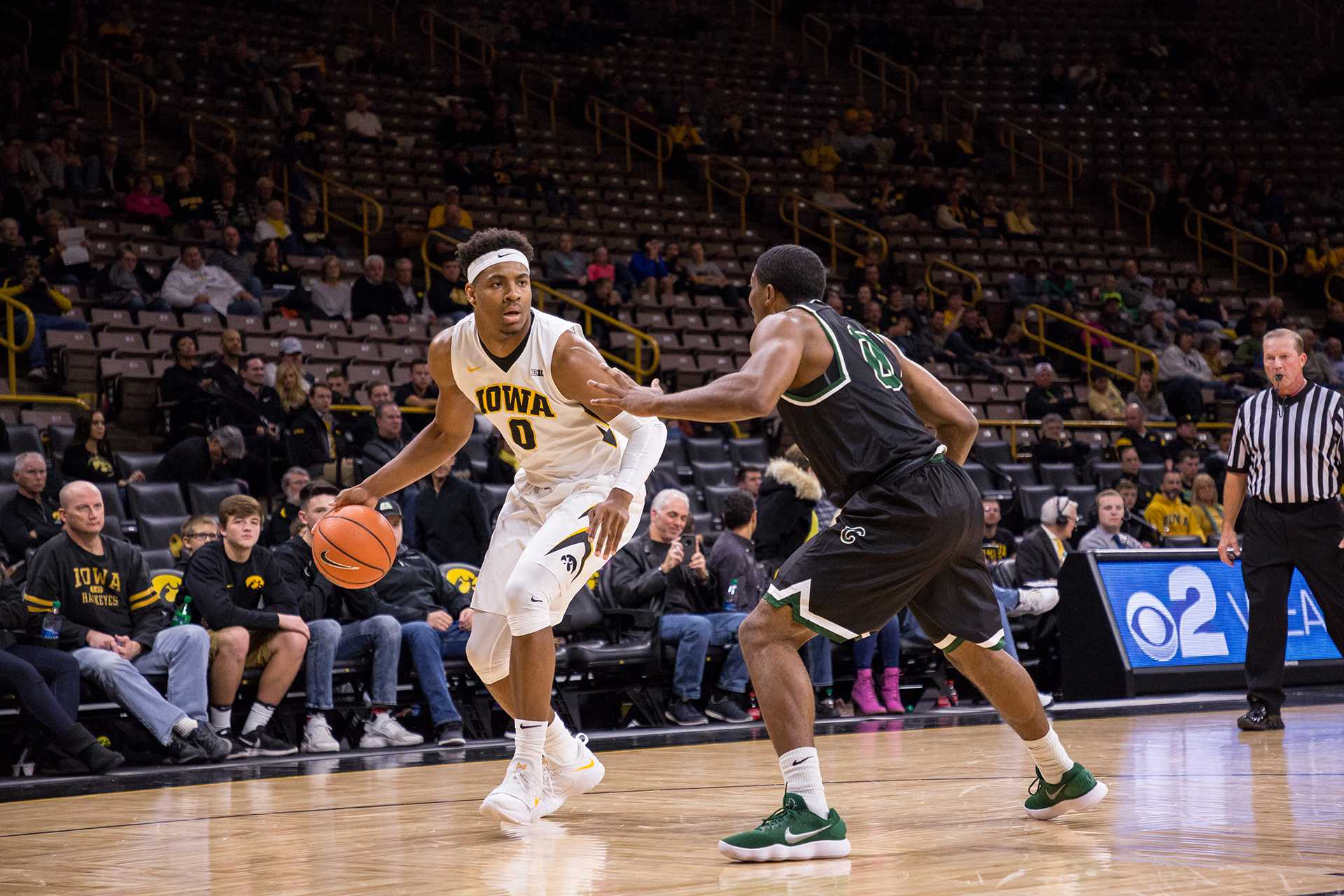 Iowa's Ahmad Wagner sizes up the defense during a game against Chicago State University on Friday, 10. Nov, 2017. The Hawkeyes defeated the Cougars, 95-62. (David Harmantas/The Daily Iowan)