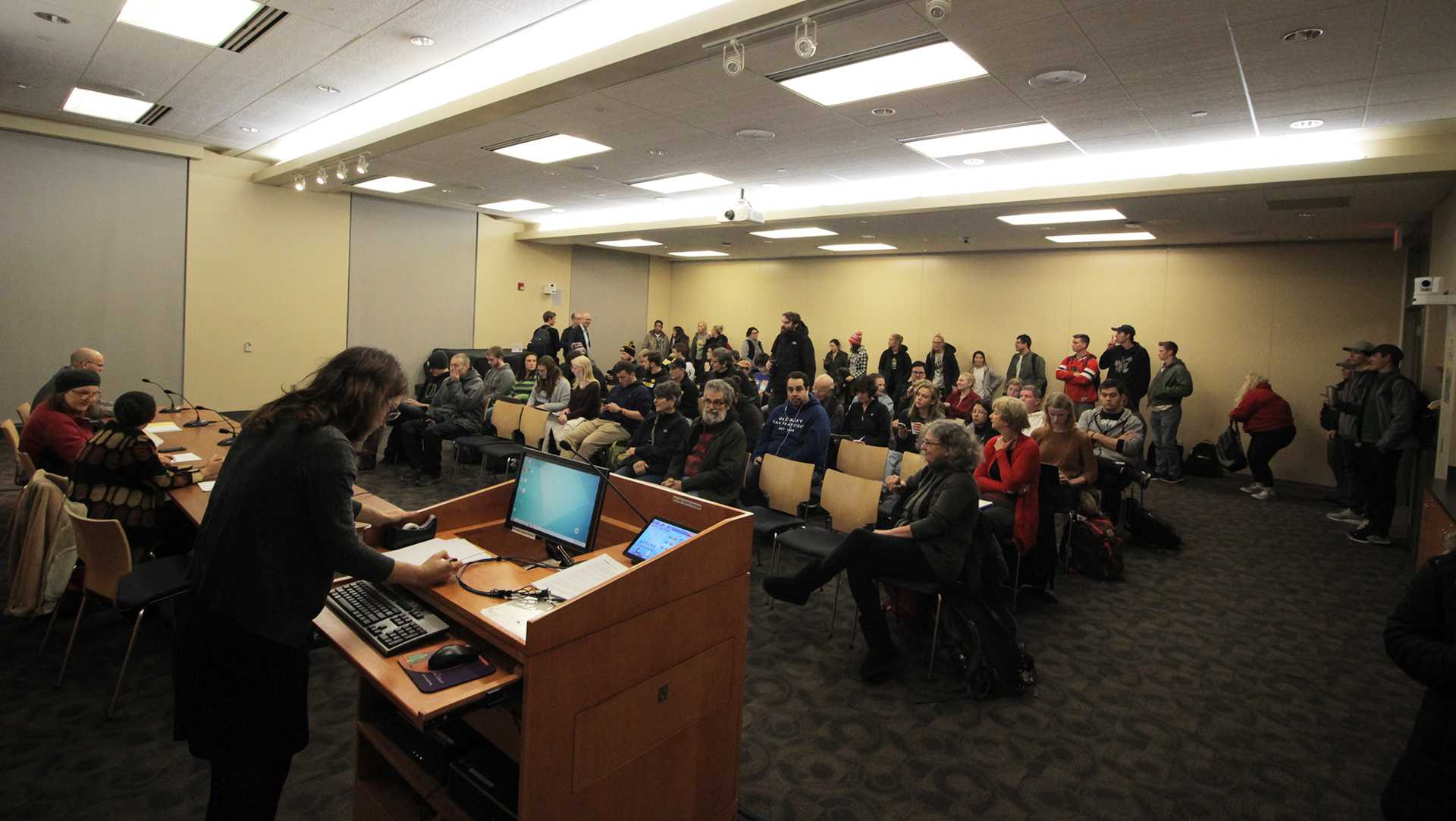 Yasemin Mohammad prepares to speak to a crowd during a Syrian refugee panel discussion at the Iowa City Public Library on Monday, Nov. 6, 2017. The panel discussed refugee immigration and how it is affecting various countries. (Andrew Baur Schoer/The Daily Iowan)