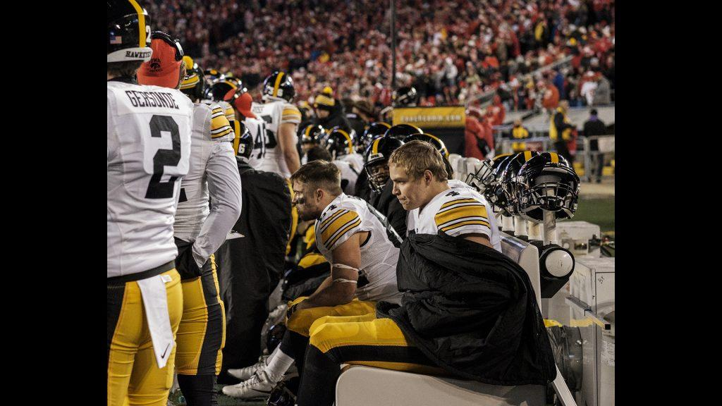 Iowa+quarterback+Nate+Stanley+sits+on+the+bench+after+fumbling+the+ball+during+Iowa%27s+game+against+Wisconsin+at+Camp+Randall+Stadium+on+Saturday%2C+Nov.+11%2C+2017.+The+badgers+defeated+the+Hawkeyes+38-14.+%28Nick+Rohlman%2FThe+Daily+Iowan%29