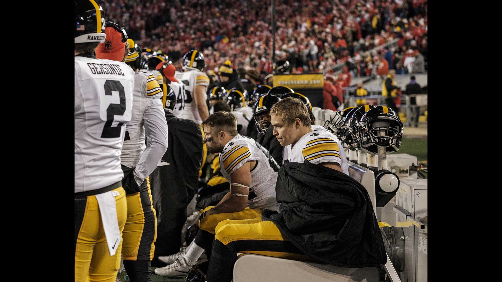 Iowa quarterback Nate Stanley sits on the bench after fumbling the ball during Iowa's game against Wisconsin at Camp Randall Stadium on Saturday, Nov. 11, 2017. The badgers defeated the Hawkeyes 38-14. (Nick Rohlman/The Daily Iowan)