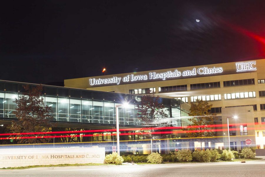 The UI Hospitals and Clinics is seen from the west on Wednesday, Nov. 9, 2017.