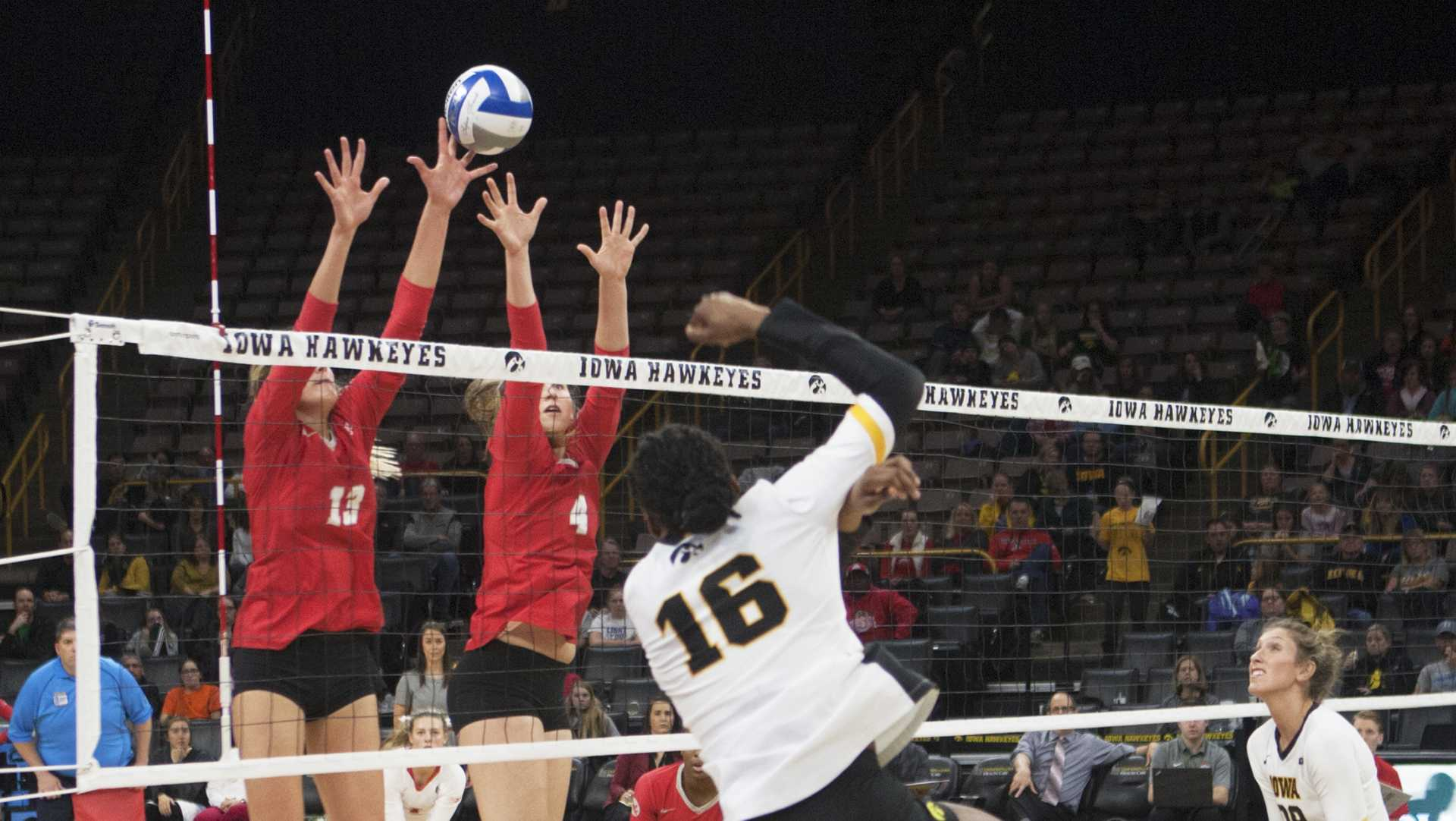 Taylor Louis striking against Ohio at Carver Hawkeye Arena on Saturday, Nov. 11, 2017. The Hawkeyes defeated Ohio State 3-1. (Andrew Baur Schoer/The Daily Iowan)