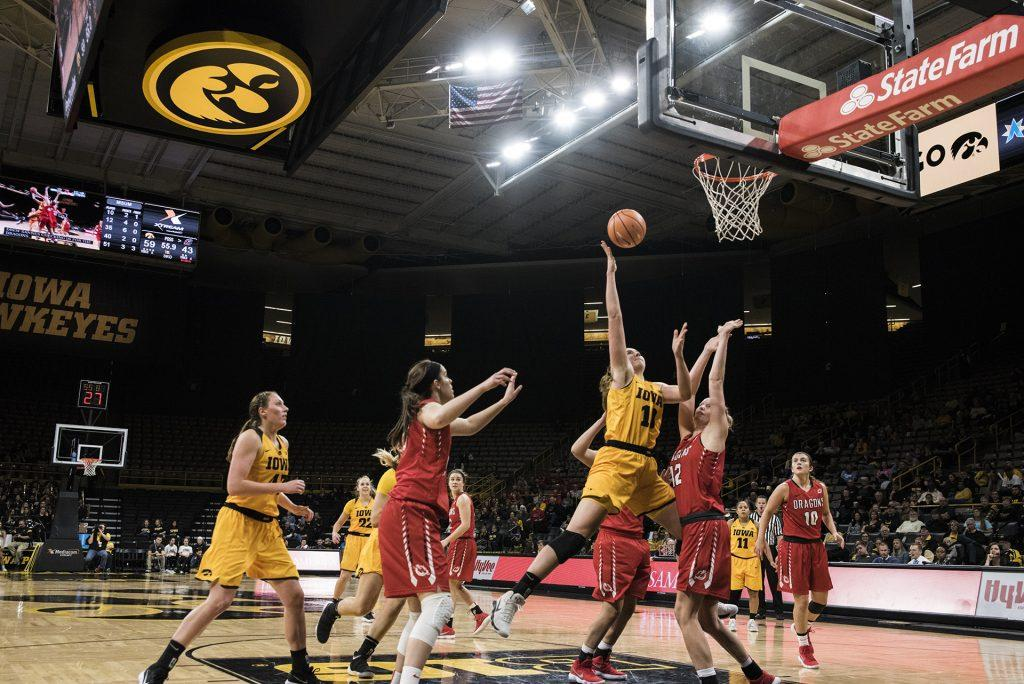Iowa+center+Megan+Gustafson+%2810%29+drives+for+a+layup+during+the+women%27s+basketball+game+between+Iowa+and+Minnesota+State+at+Carver-Hawkeye+Arena+on+Sunday%2C+Nov.+5%2C+2017.+The+Hawkeyes+beat+the+Dragons+85-56.+%28Ben+Smith%2FThe+Daily+Iowan%29