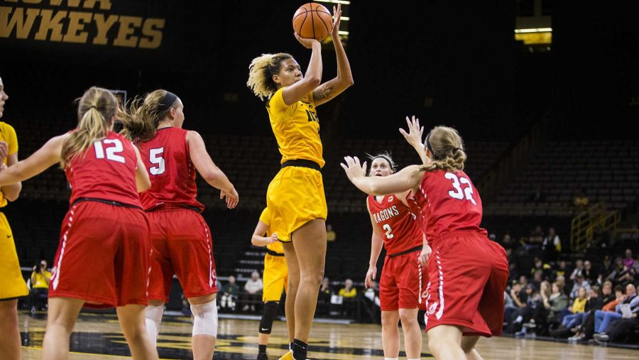 Iowa forward Chase Coley takes a shot inside the lane during the womens basketball game between Iowa and Minnesota State at Carver-Hawkeye Arena on Sunday, Nov. 5, 2017. The Hawkeyes beat the Dragons, 85-56. (Ben Smith/The Daily Iowan)