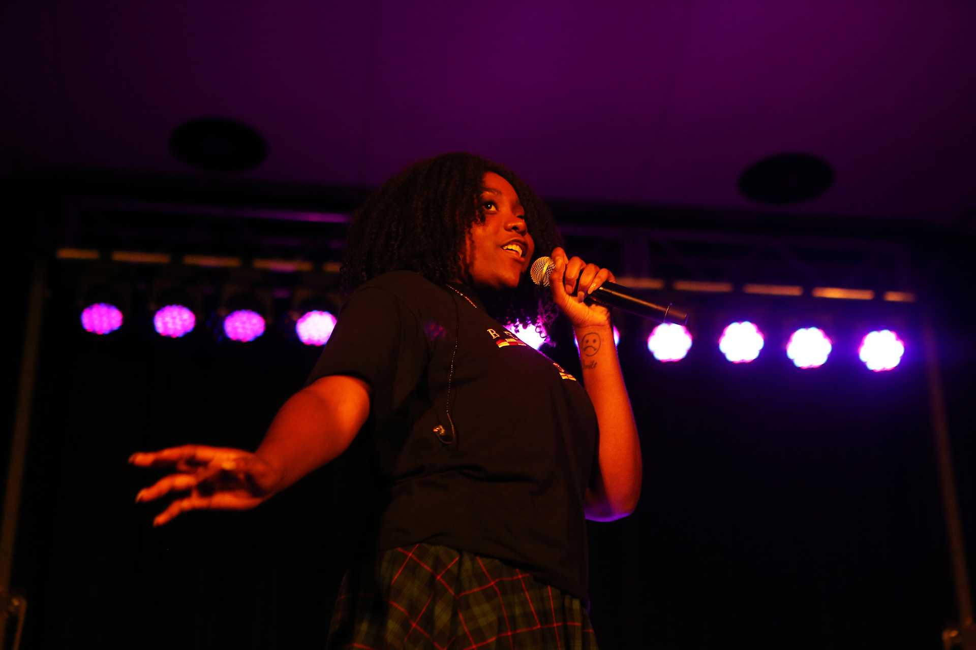 NoName performs during the Telefone Tour on Friday, Feb. 24, 2017 in the Second Floor Ballroom of the Iowa Memorial Union. Telefone is NoName's debut mixtape, released on July 31, 2016. (The Daily Iowan/Joshua Housing)