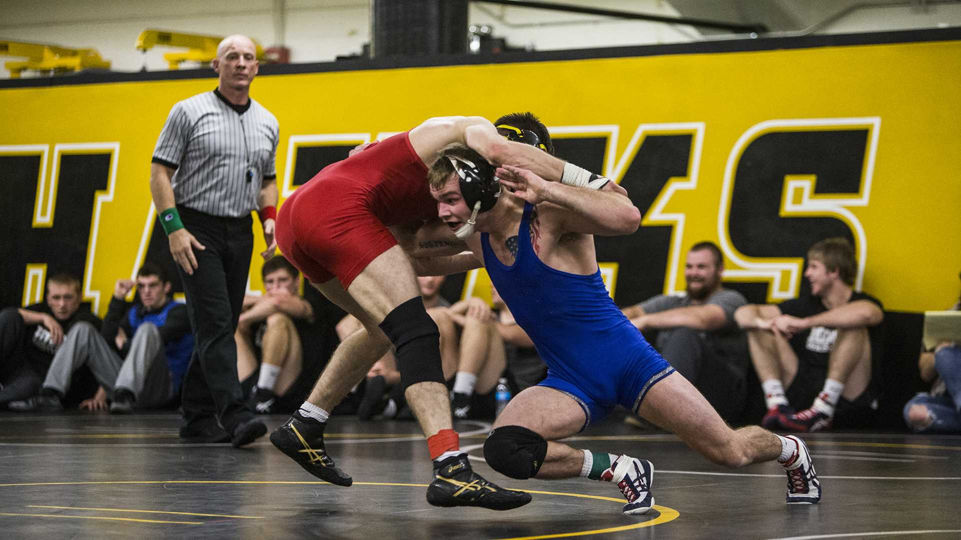 Brandon Sorenson and Stephen Alvarez compete in the 149 weight class during the Wrestle-Off at the Dan Gable Wrestling Complex inside Carver-Hawkeye Arena on Friday, Nov. 3, 2017. Sorenson went on to beat Alvarez. (Ben Smith/The Daily Iowan)
