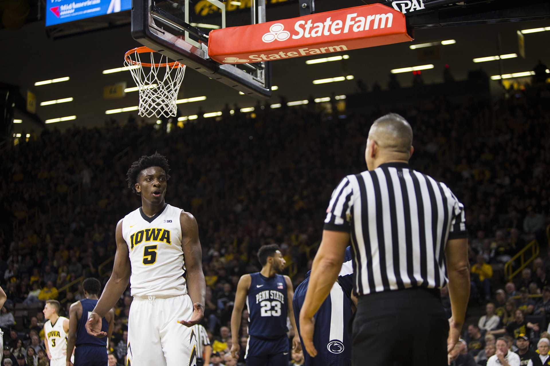 Iowa forward Tyler Cook reacts to a no-call against Penn State during an Iowa/Penn State men's basketball game in Carver-Hawkeye Arena on Saturday, Dec. 2, 2017. The Nittany Lions defeated the Hawkeyes, 77-73. (Joseph Cress/The Daily Iowan)