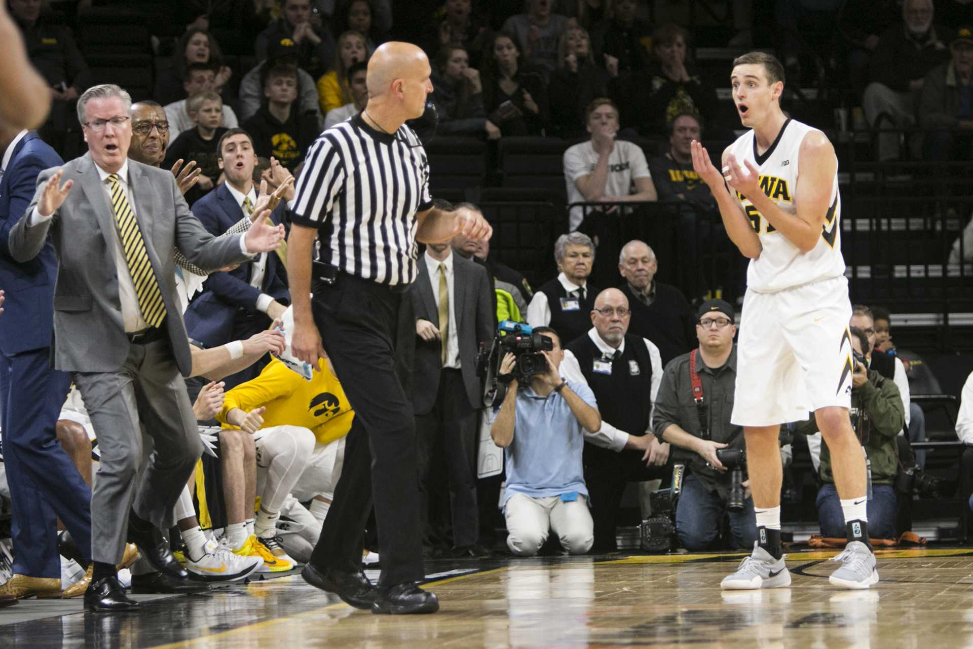 Iowa forward Nicholas Baer reacts to a foul called against him during an Iowa/Penn State men's basketball game in Carver-Hawkeye Arena on Saturday, Dec. 2, 2017. The Nittany Lions defeated the Hawkeyes, 77-73. (Joseph Cress/The Daily Iowan)