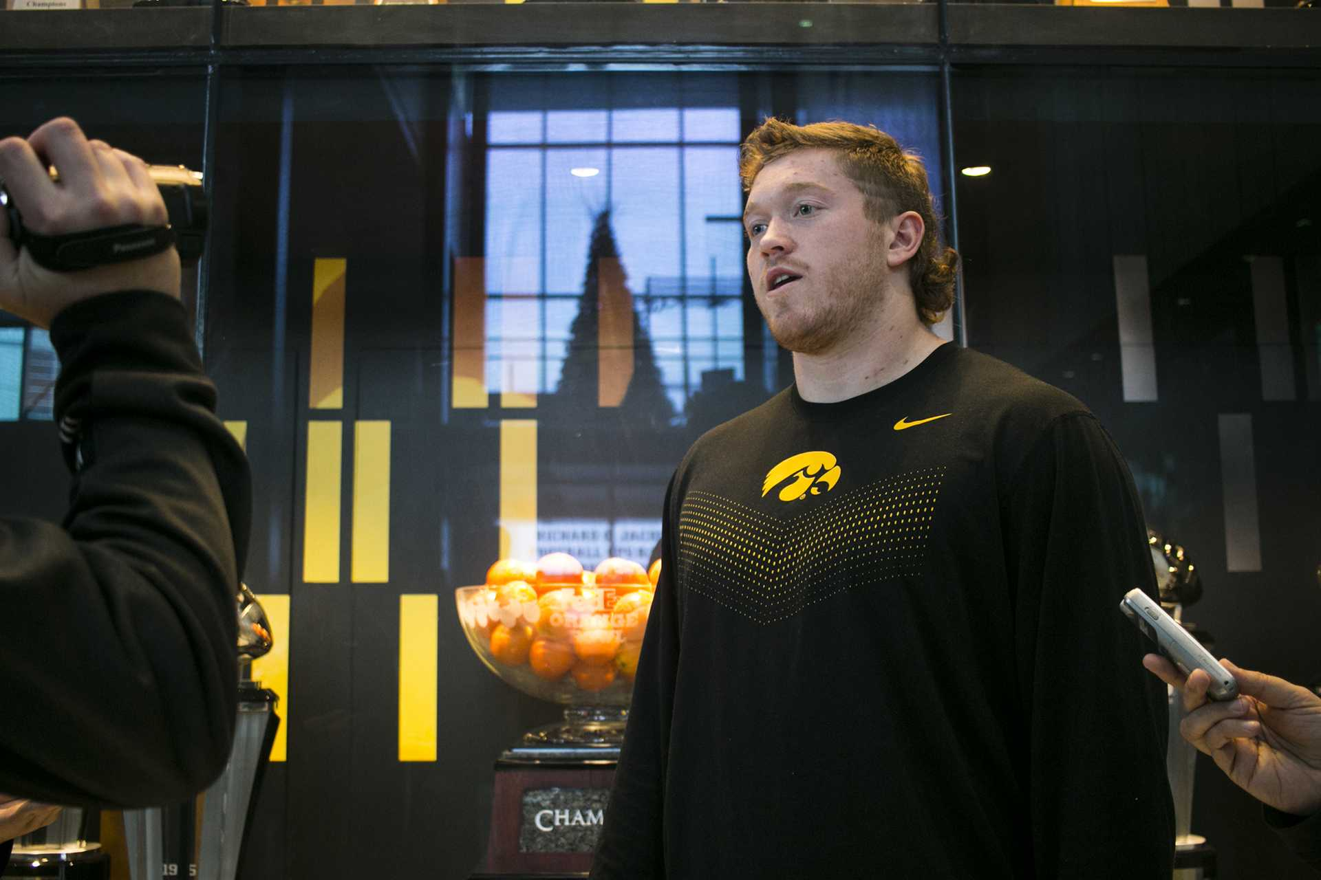 Iowa defensive end Parker Hesse speaks with members of the media during a media availability in the Hansen Football Performance Center on Sunday, Dec. 3, 2017. The Hawkeyes accepted an invitation to play Boston College at the New Era Pinstripe Bowl in New York City on Wednesday, Dec. 27. (Joseph Cress/The Daily Iowan)